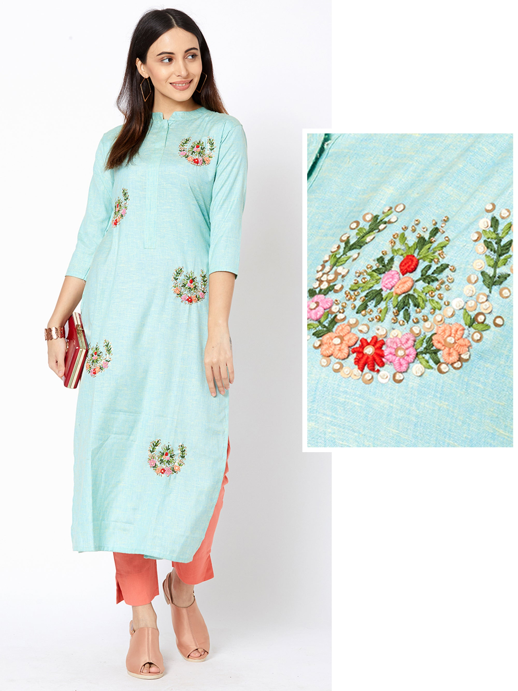 Bullion Knot Wreath Embroidered Sequins Kurti - Cyan