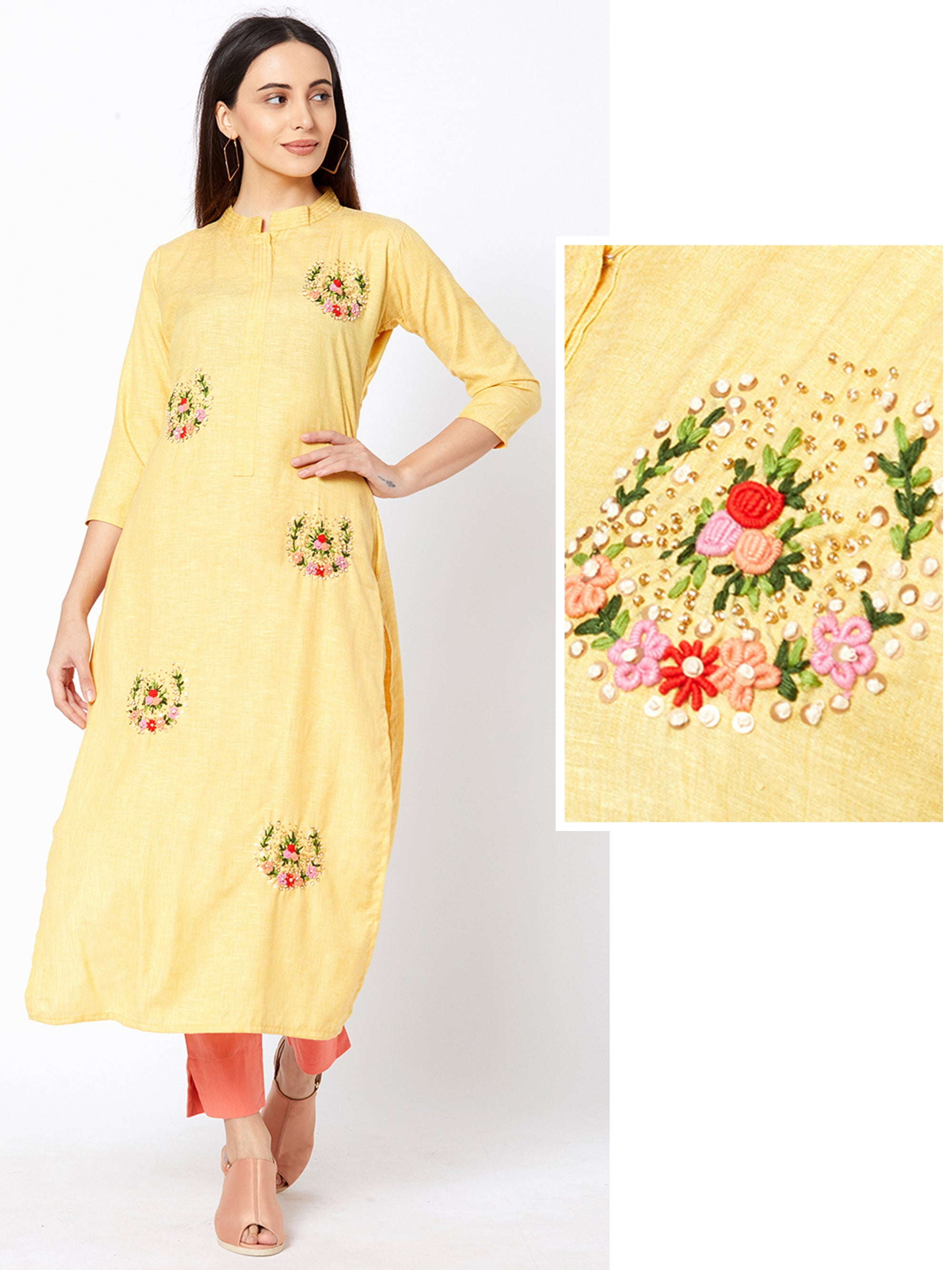 Bullion Floral Embroidered Cotton Kurti – Yellow