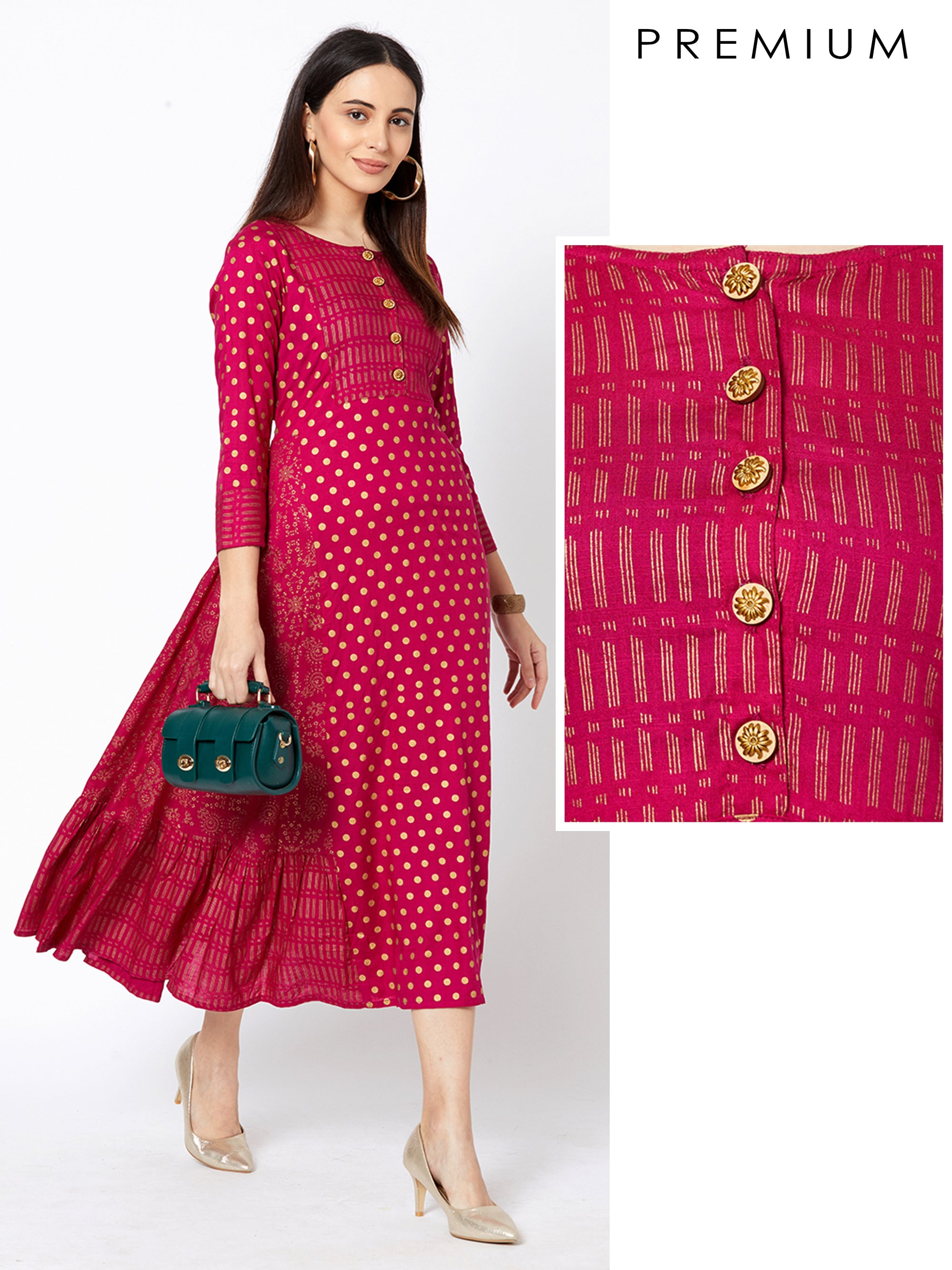 Foil Polka Dotted & Floral Printed Maxi – Rani Pink