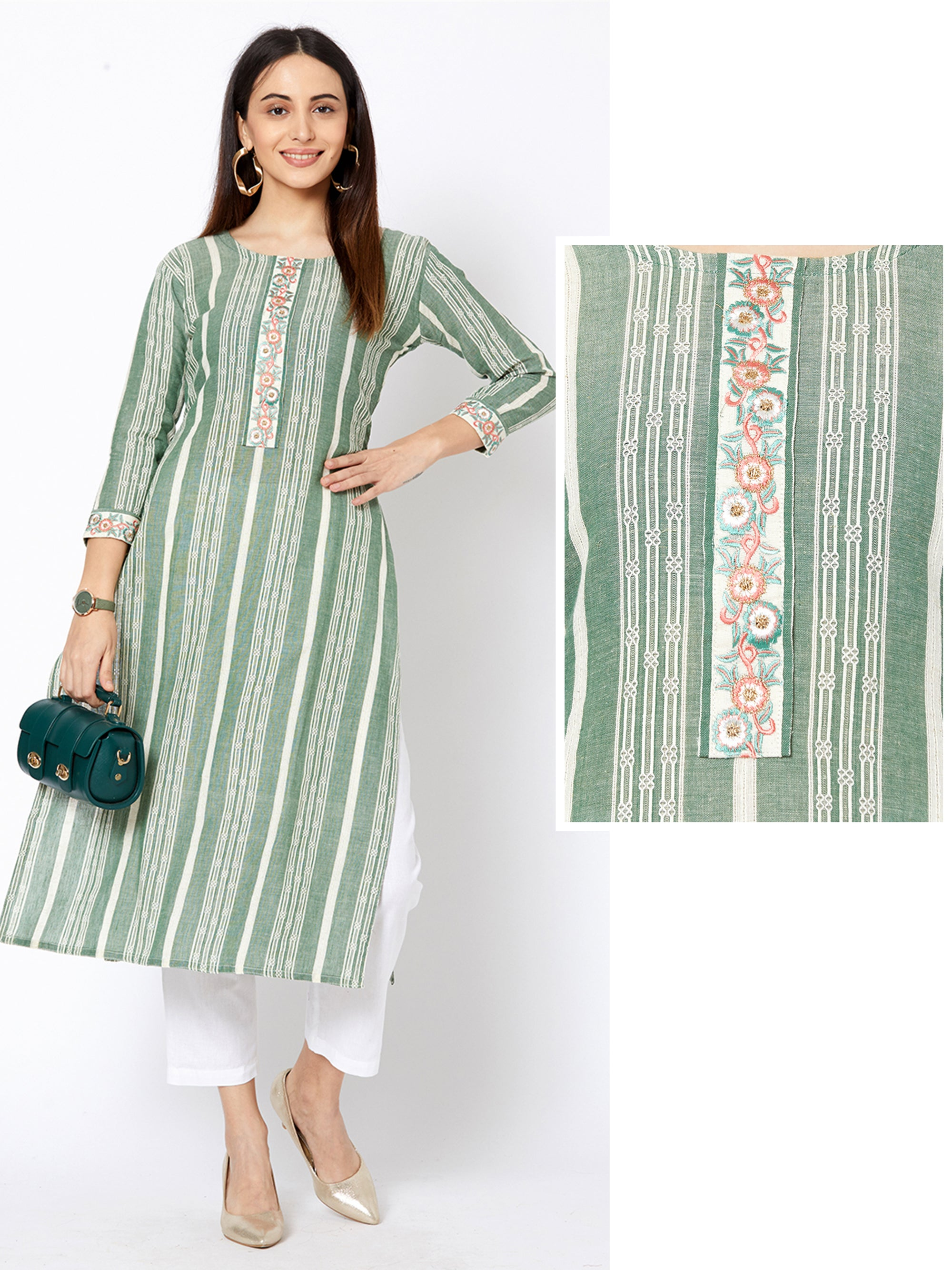 Minimal Floral Embroidered & Chalk Striped Kurta – Fern Green
