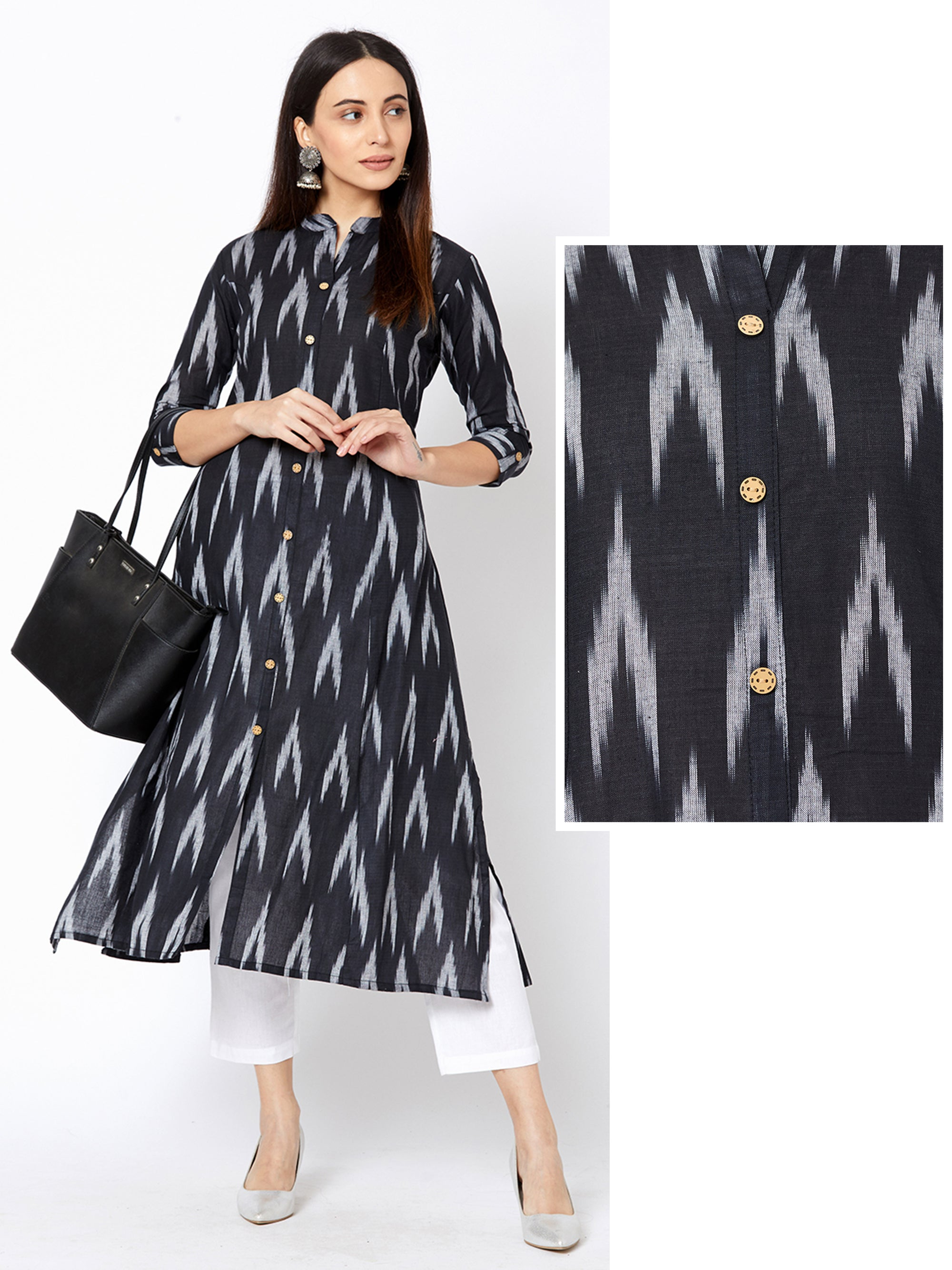 Ikkat Printed Princess Cut Cotton Kurta – Black