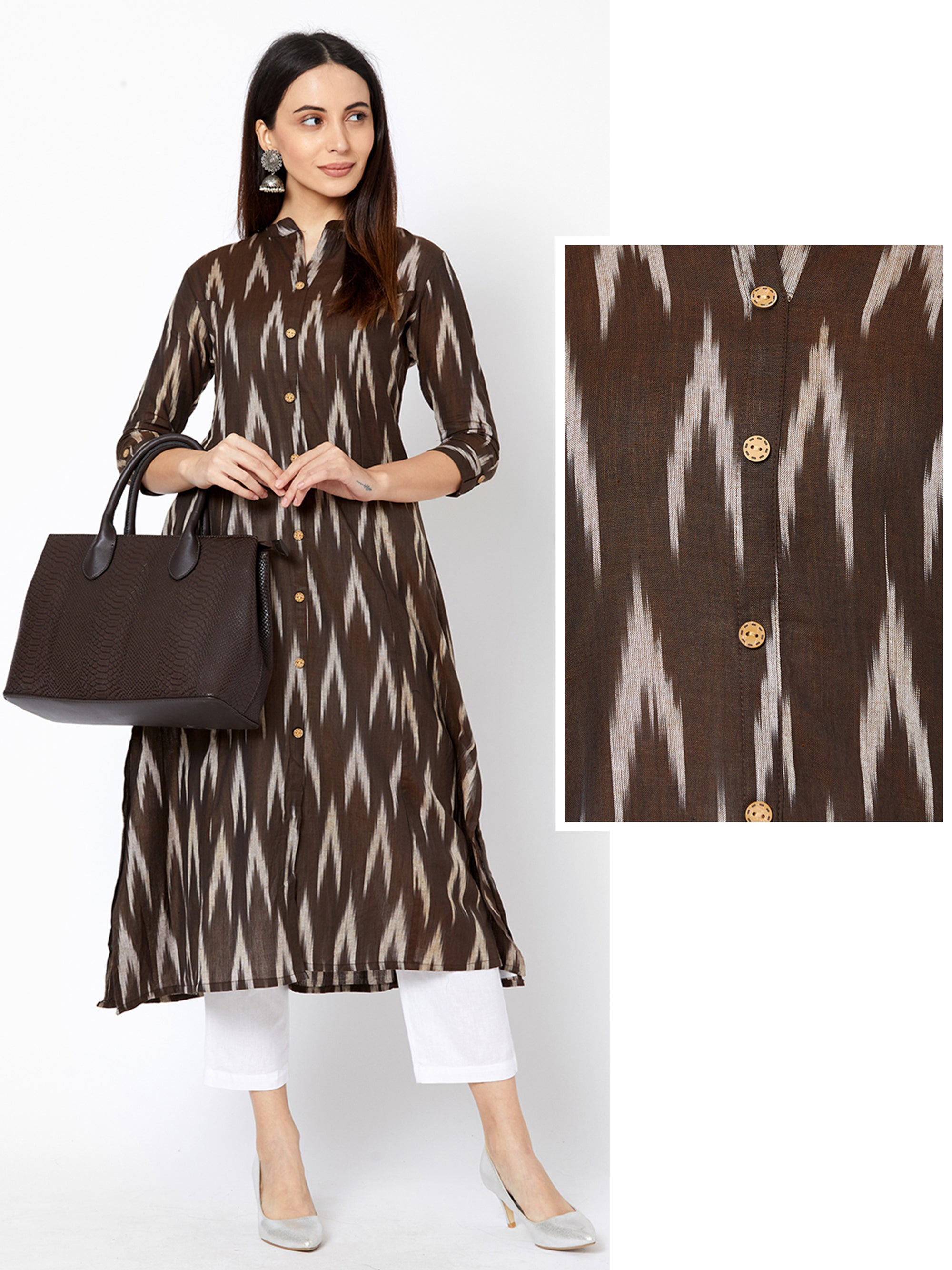 Ikkat Printed Princess Cut Cotton Kurta – Brown