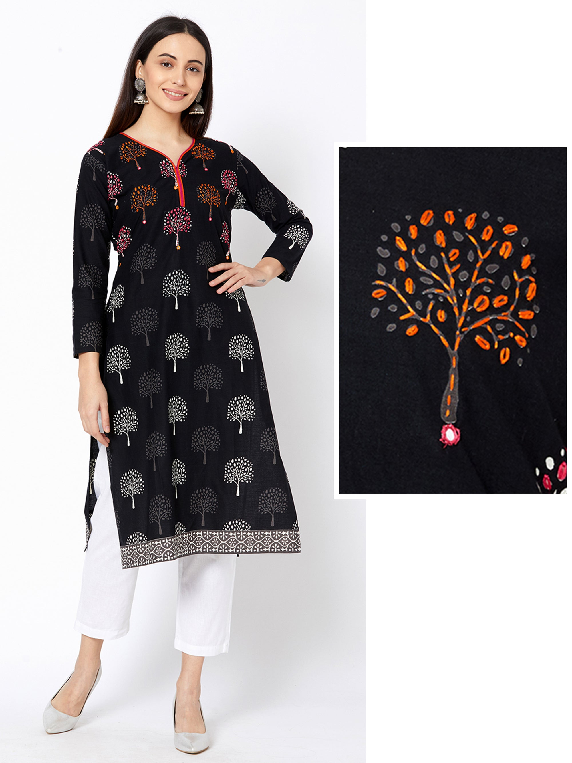 Mirror worked & Tree Printed Cotton Kurta – Black