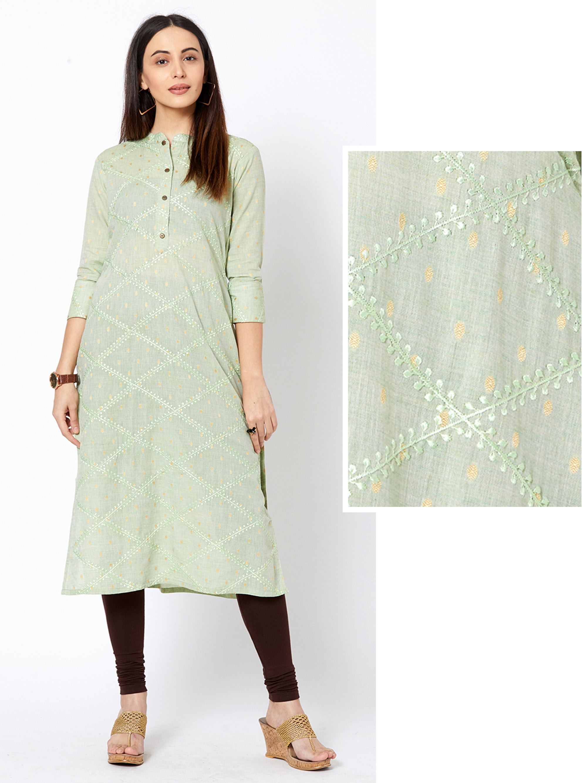 Minimal Ikkat Buta Printed & Diamond Embroidered Kurta – Pale Green