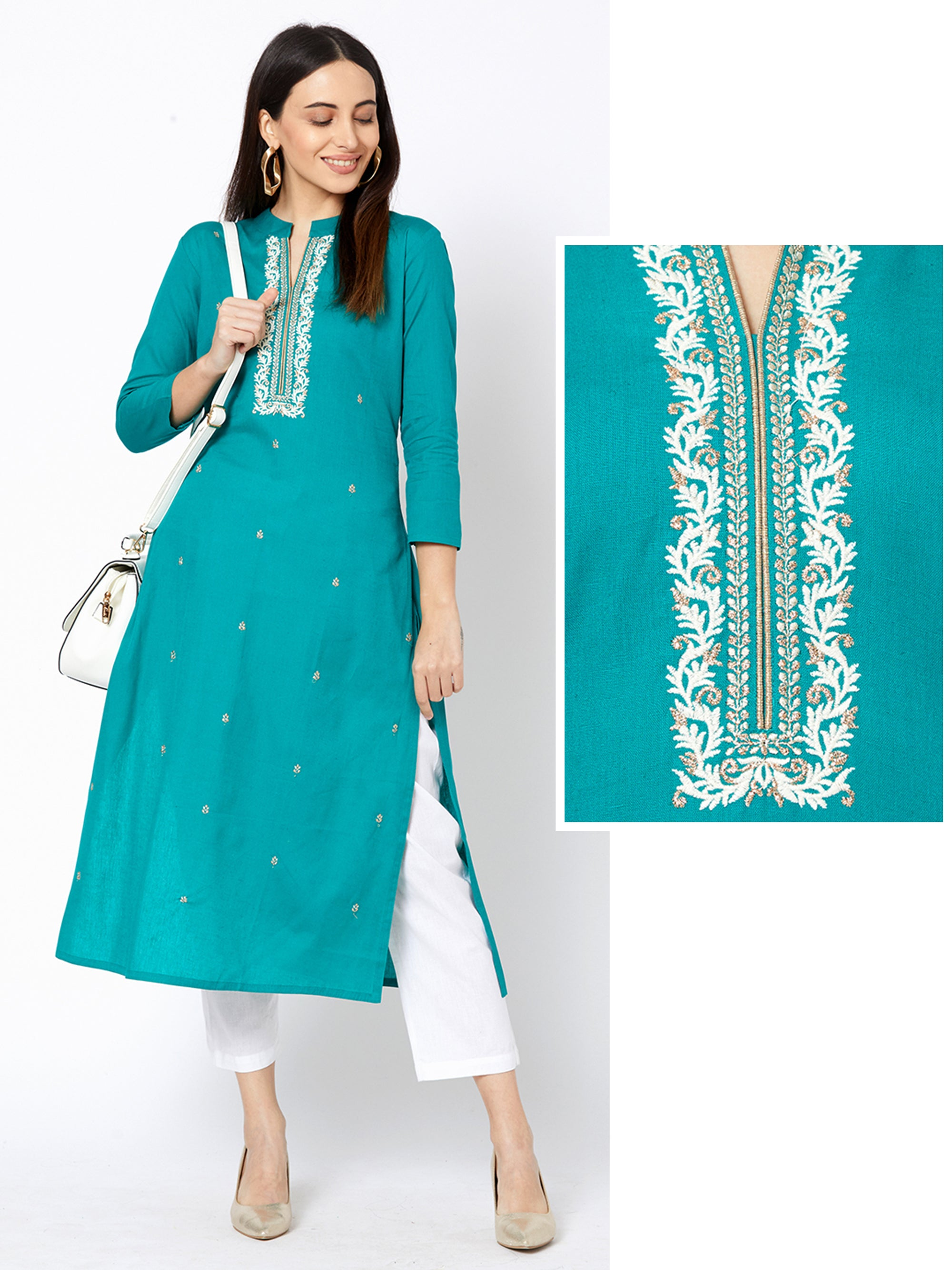 Minimal Floral Embroidered Cotton Kurta – Teal Blue
