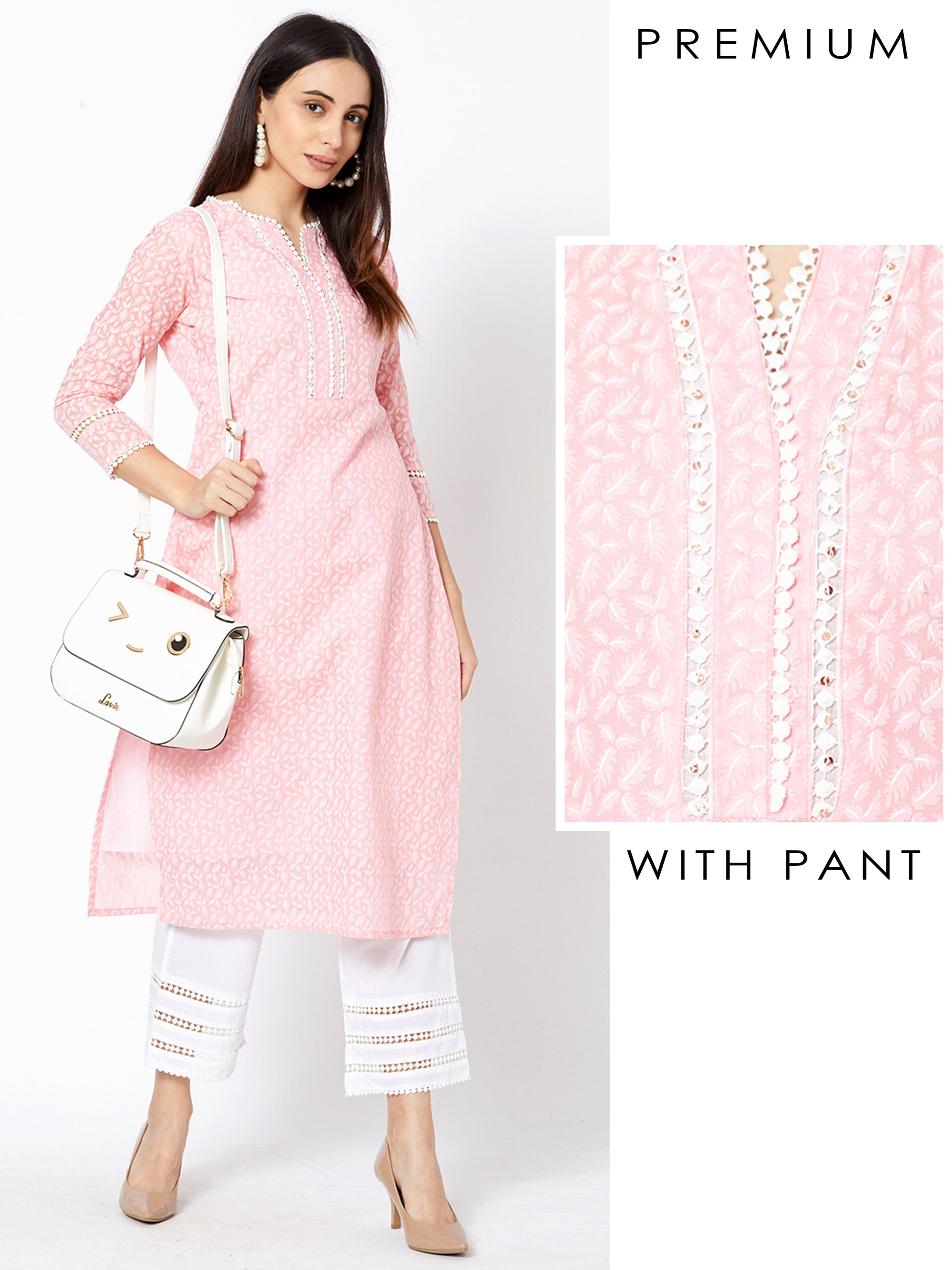 Feather Printed Kurta with Schiffli Embroidered Parallel Pant – Baby Pink