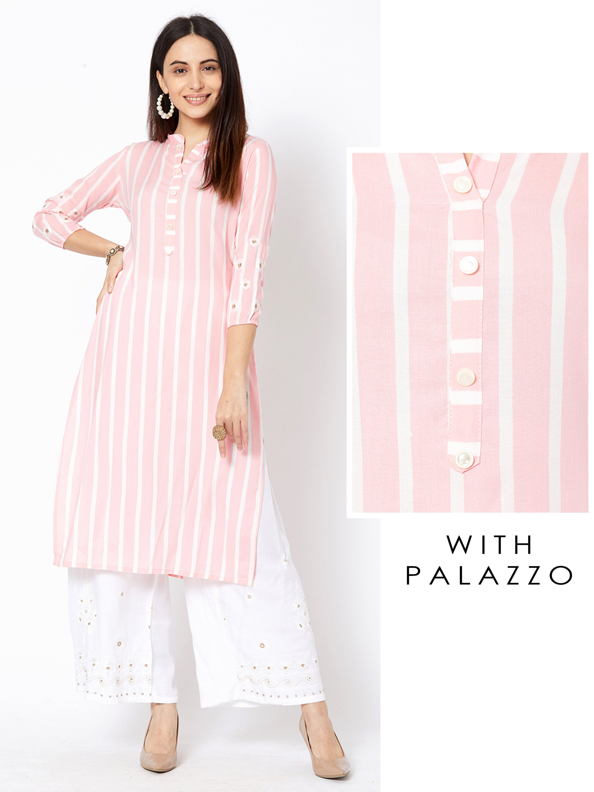 Cabana Striped Kurta with Minimal Embroidered Palazzo – Baby Pink