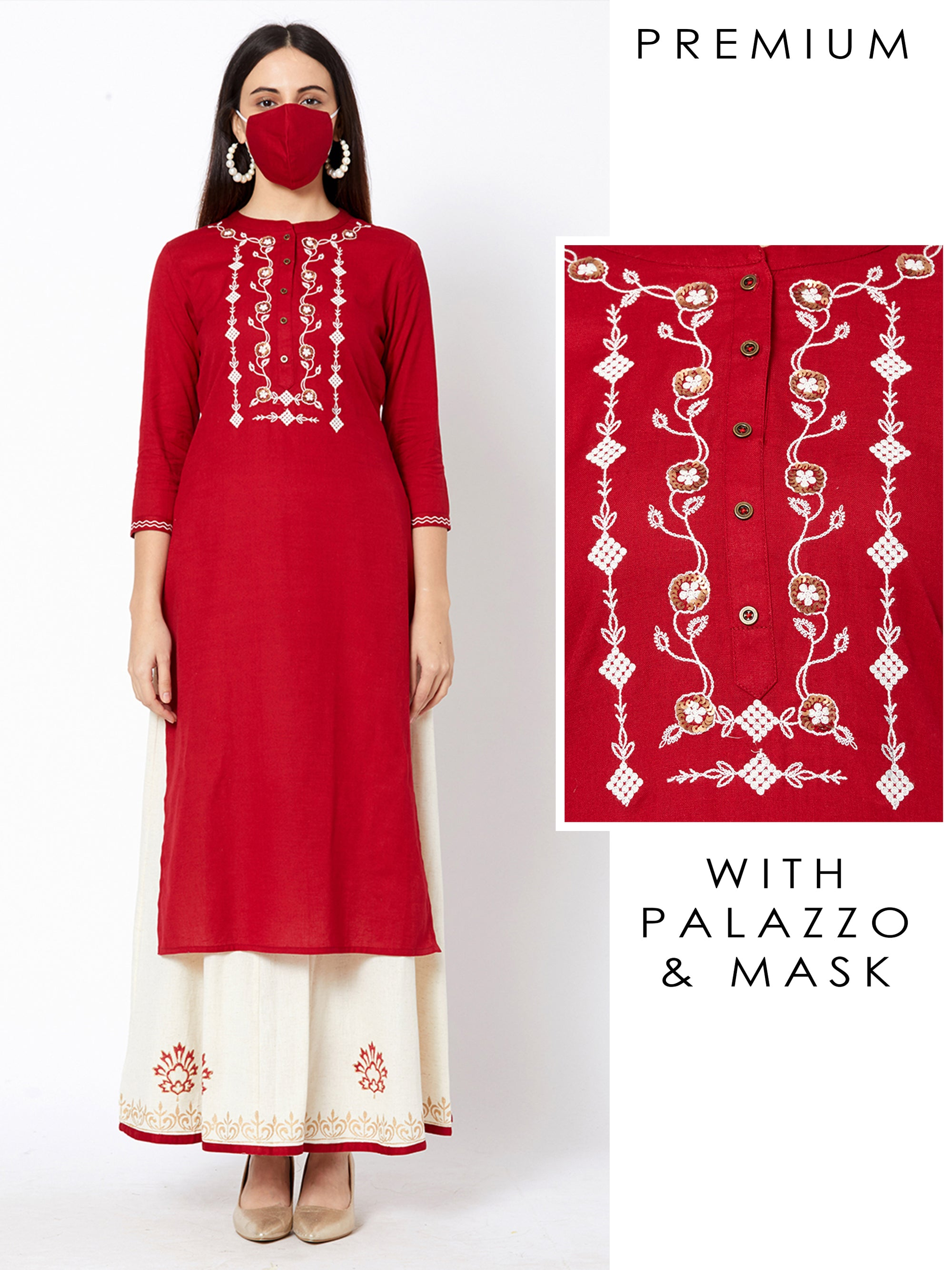 Sequins Embroidered Kurta & Block Printed Palazzo with Matching Mask