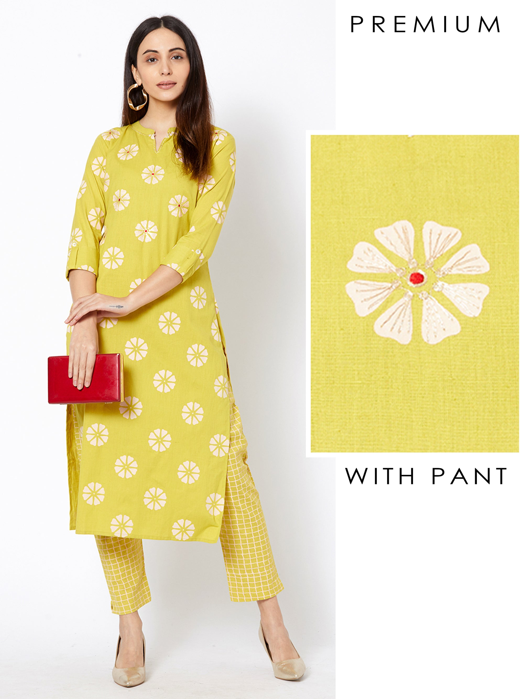 Floral Block Printed Kurta with Checkered Pant – Lime Green