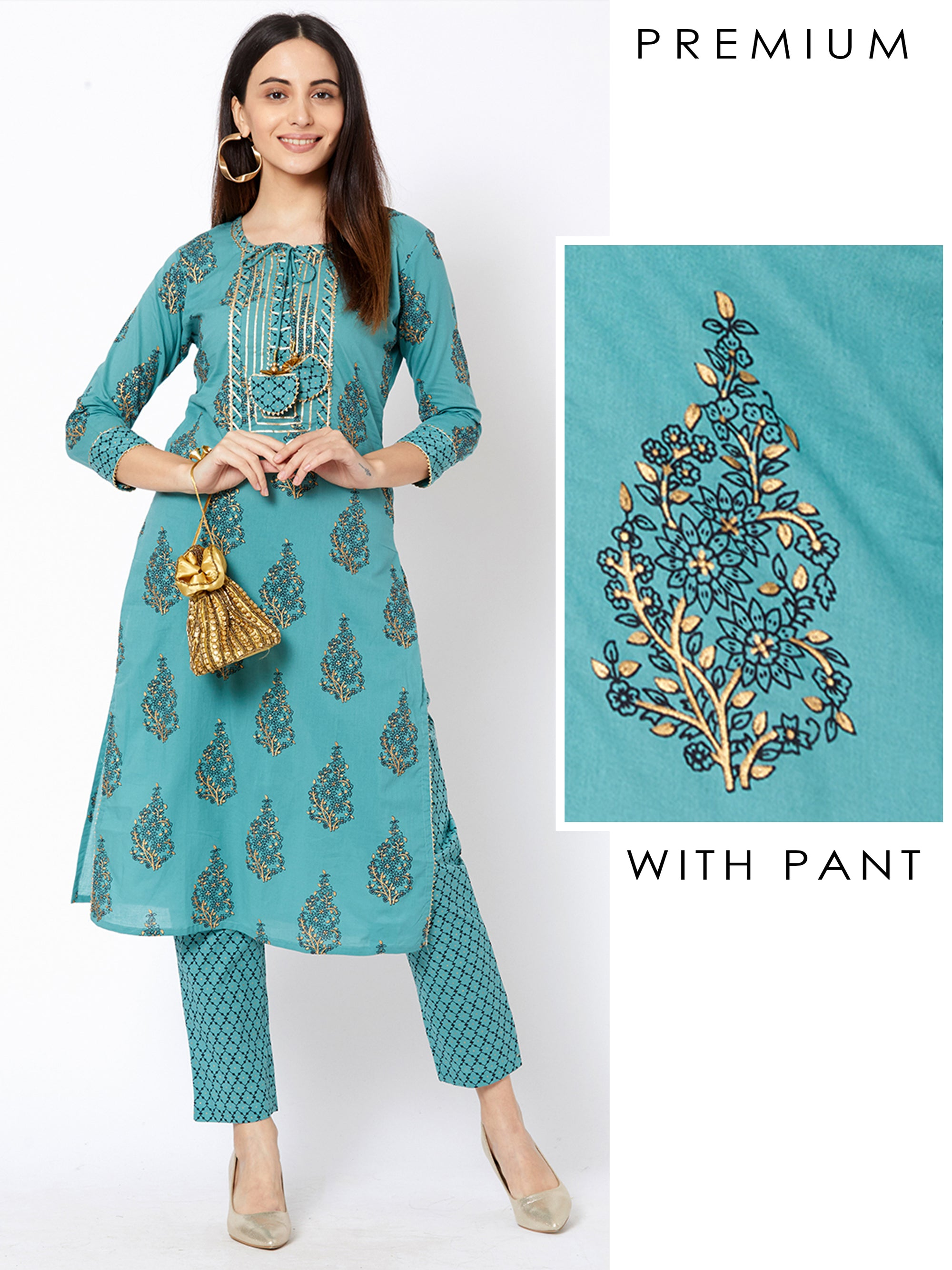 Pinnate Leaf Printed Temple Gota Kurta with Quatrefoil Printed Pant – Livid Blue