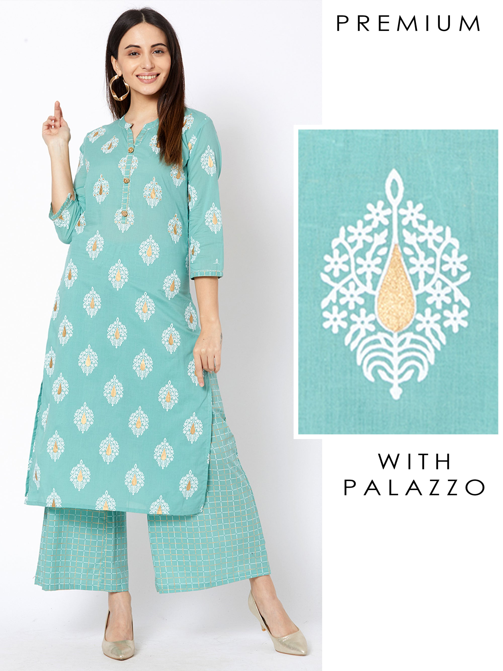 Floral Motif Printed Kurta with Pin Checkered Palazzo – Aqua Blue