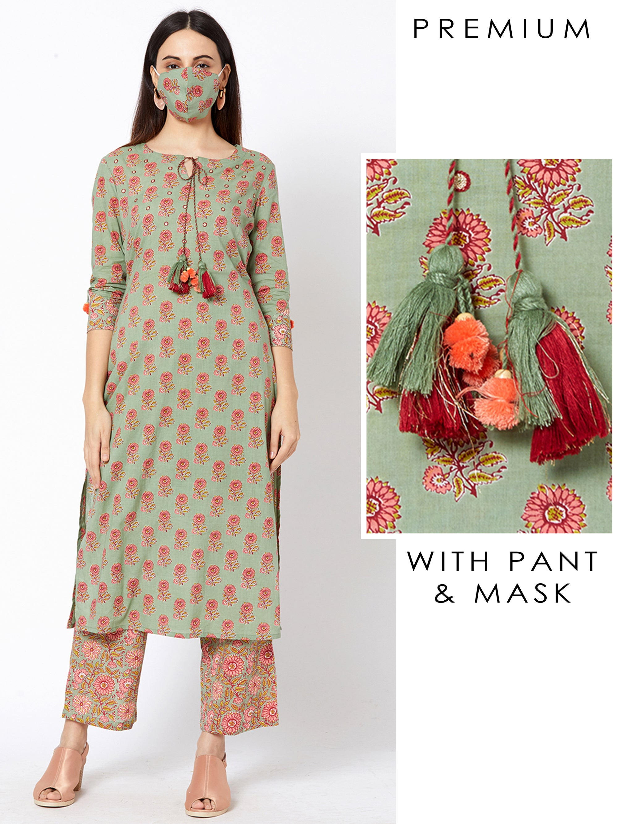 Floral Printed Kurta and Ditsy Printed Pant with Matching Mask