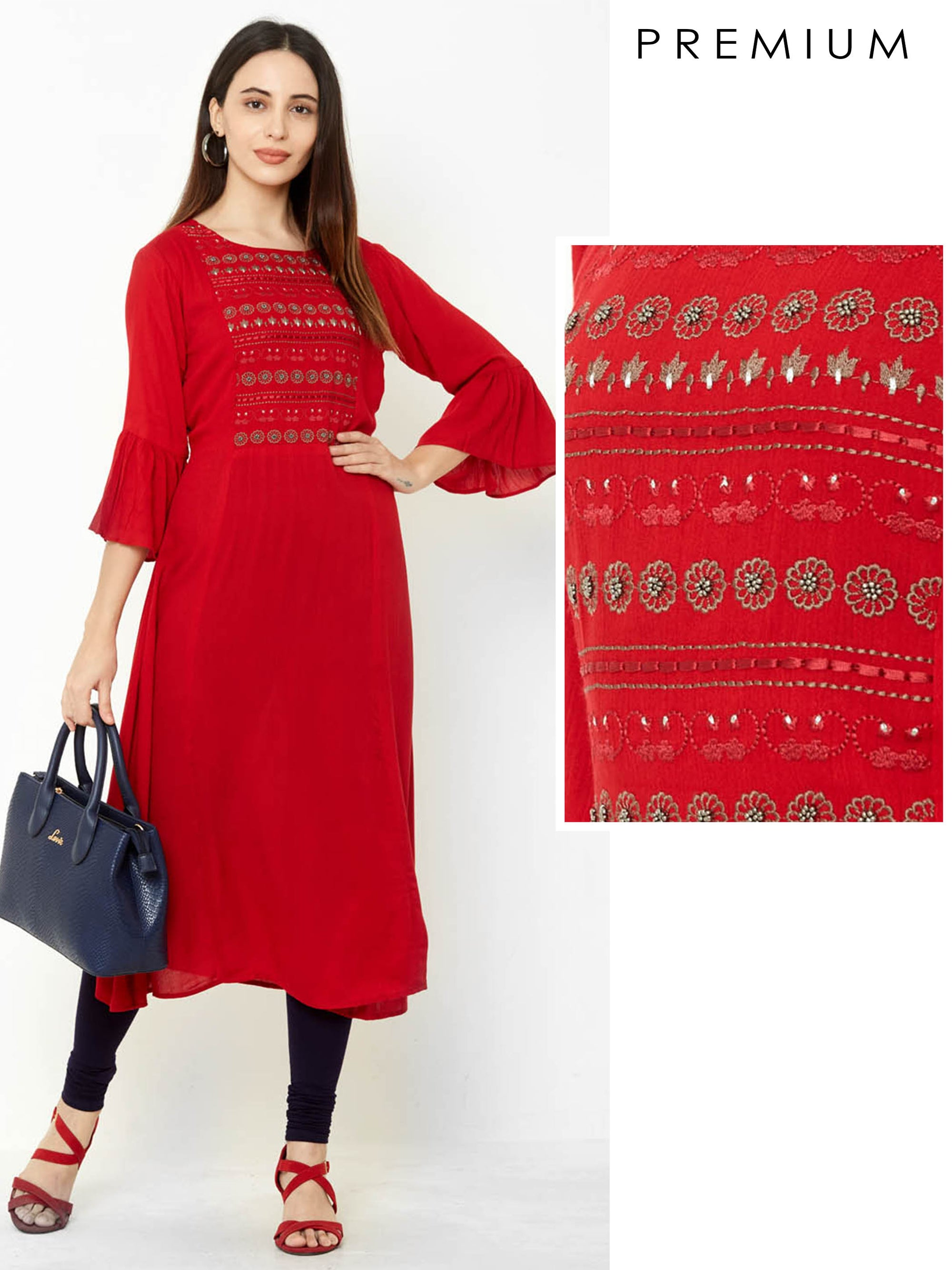 Zari Floral Embroidered & Black Metal Beaded Kurta – Scarlet Red