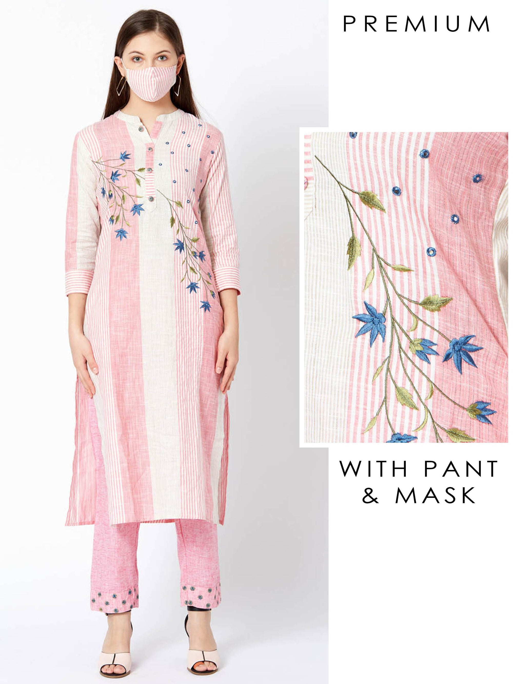 Floral Embroidered Striped Kurta & Mirror Embroidered Pant with Mask – Pink