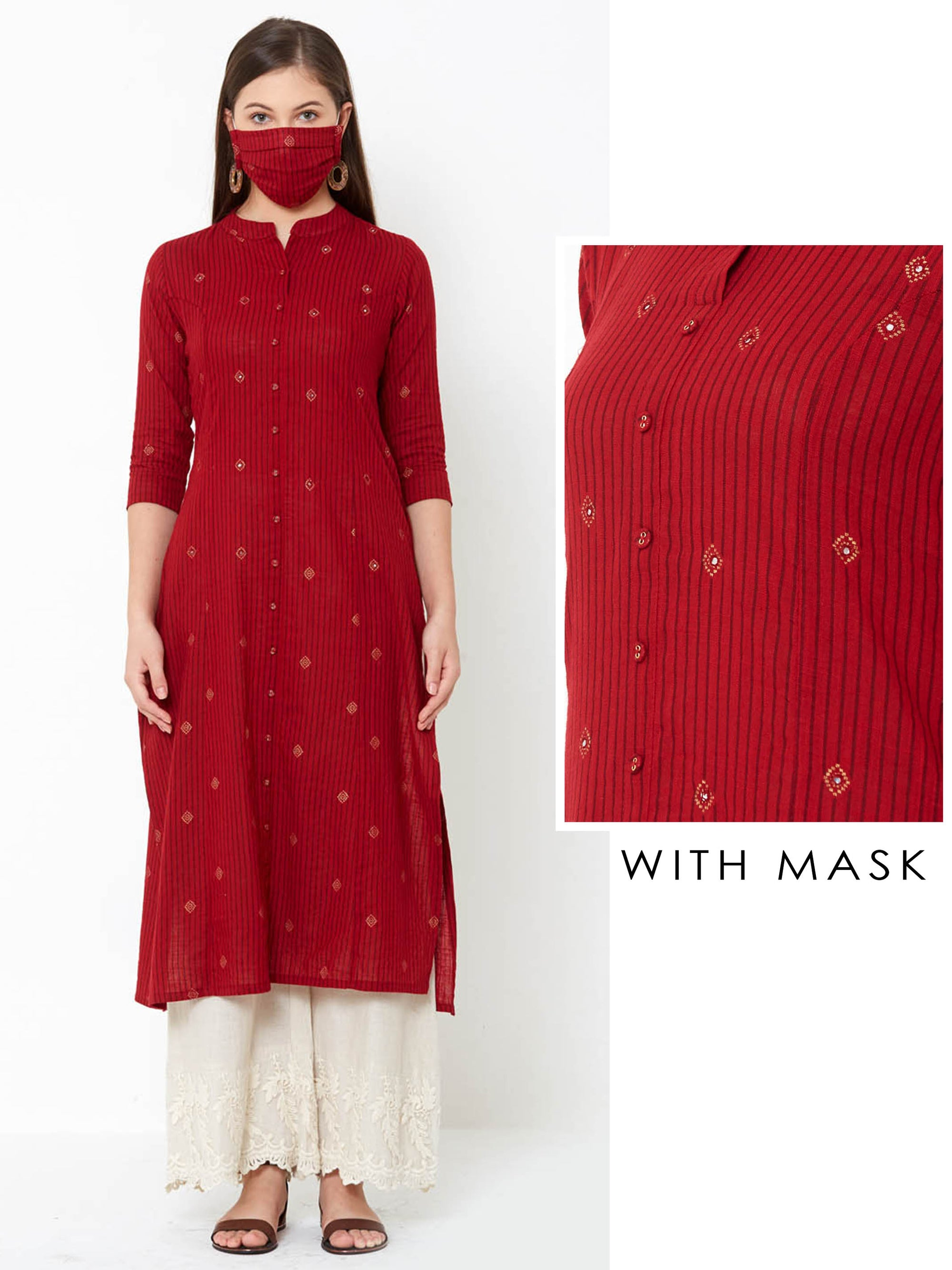 Minimal Embroidered & Bengal Striped Princess Cut Kurta with mask – Red