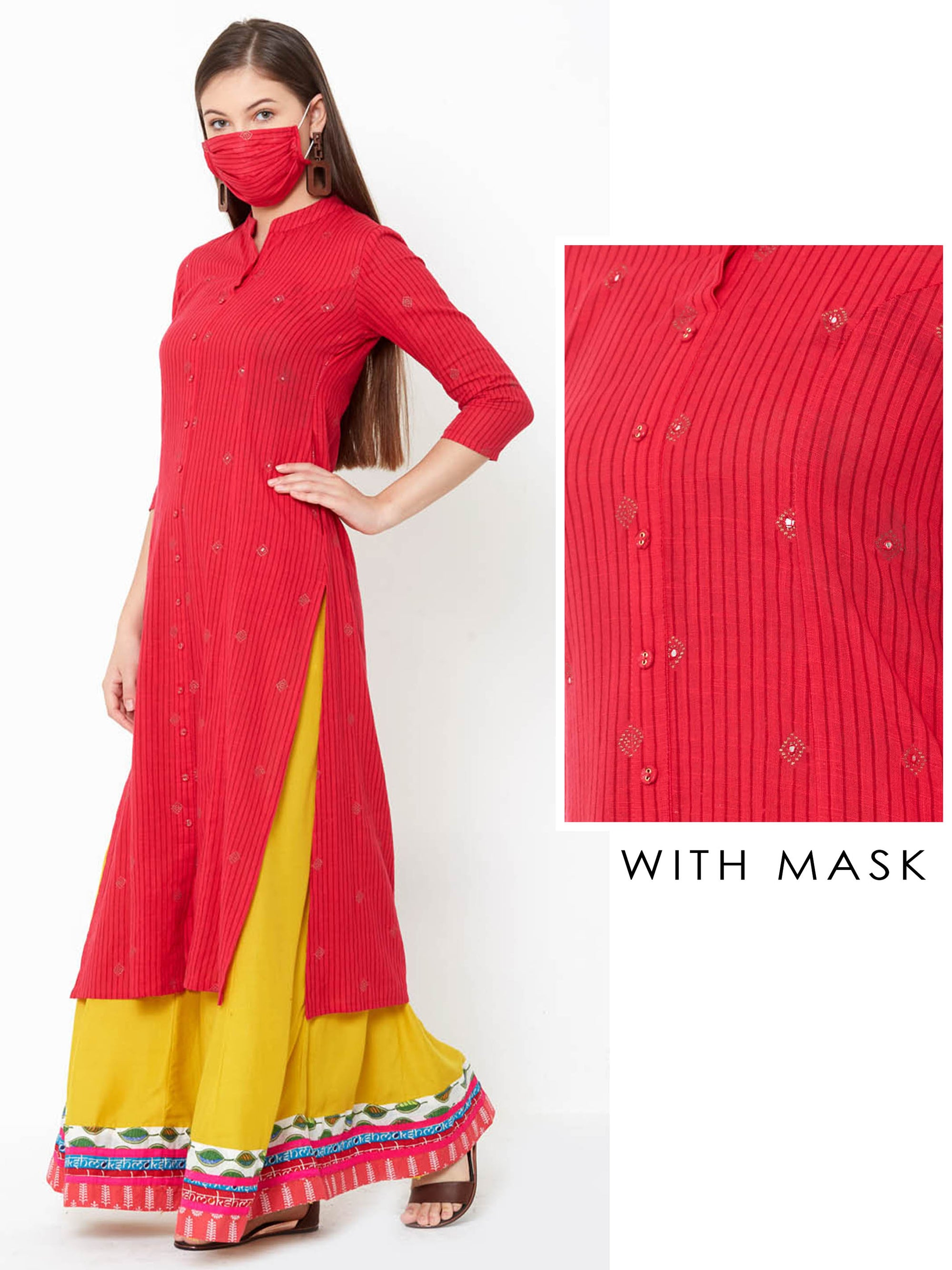 Minimal Embroidered & Bengal Striped Princess Cut Kurta with Mask – Pink