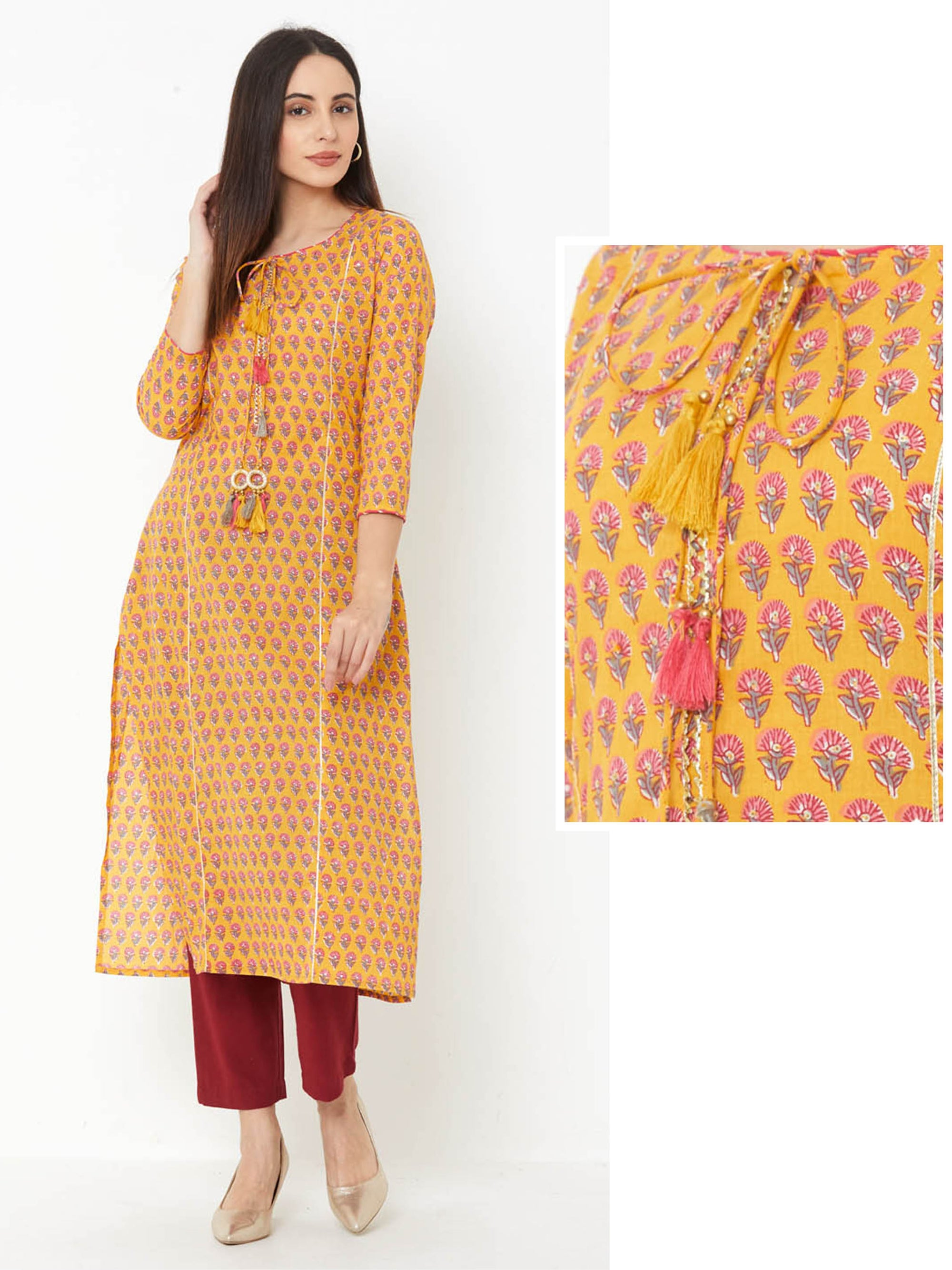 Floral Printed & Gota laced Cotton Kurta – Mustard