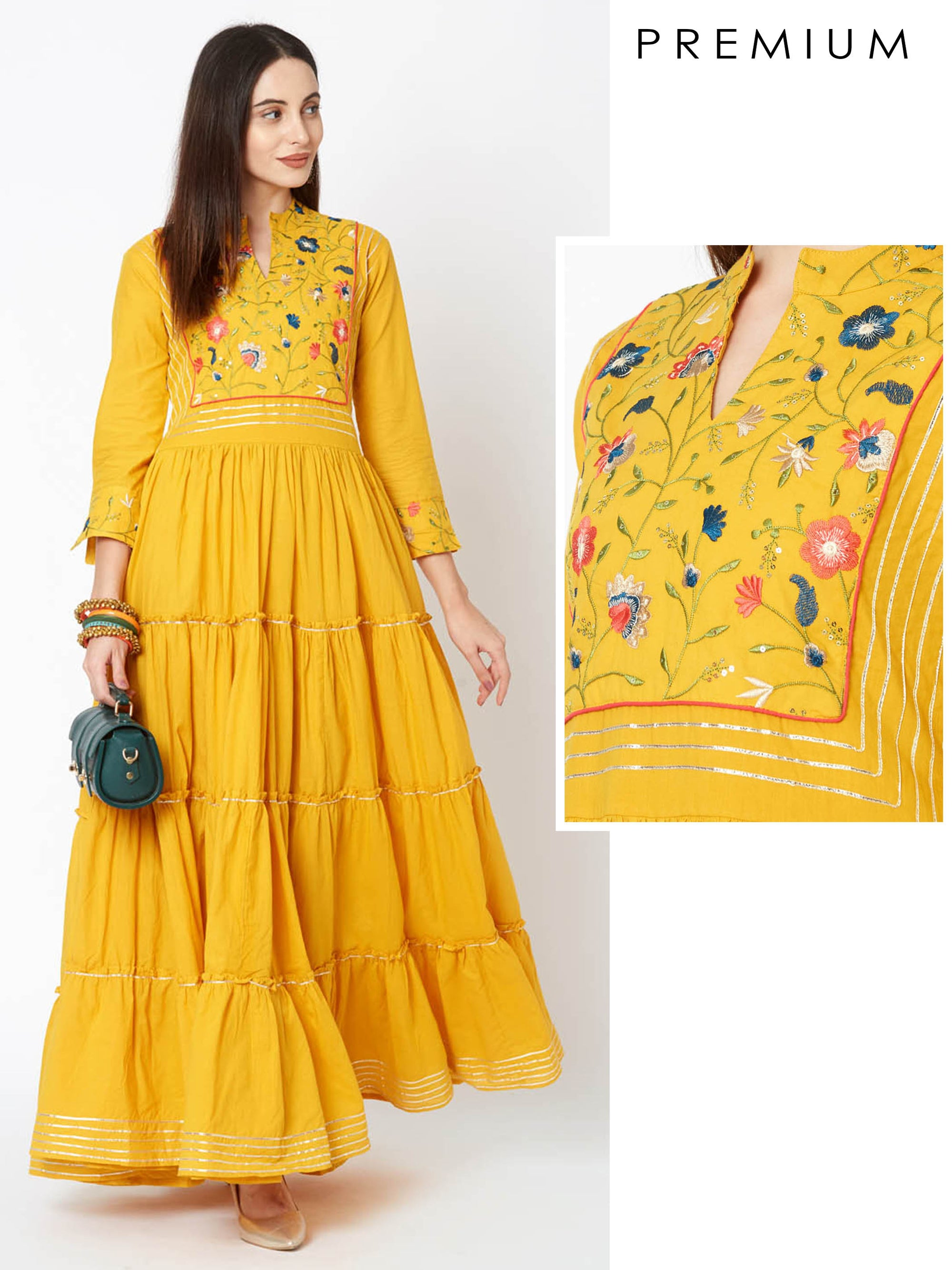 Floral Embroidered & Gota Laced Tier Maxi – Mustard