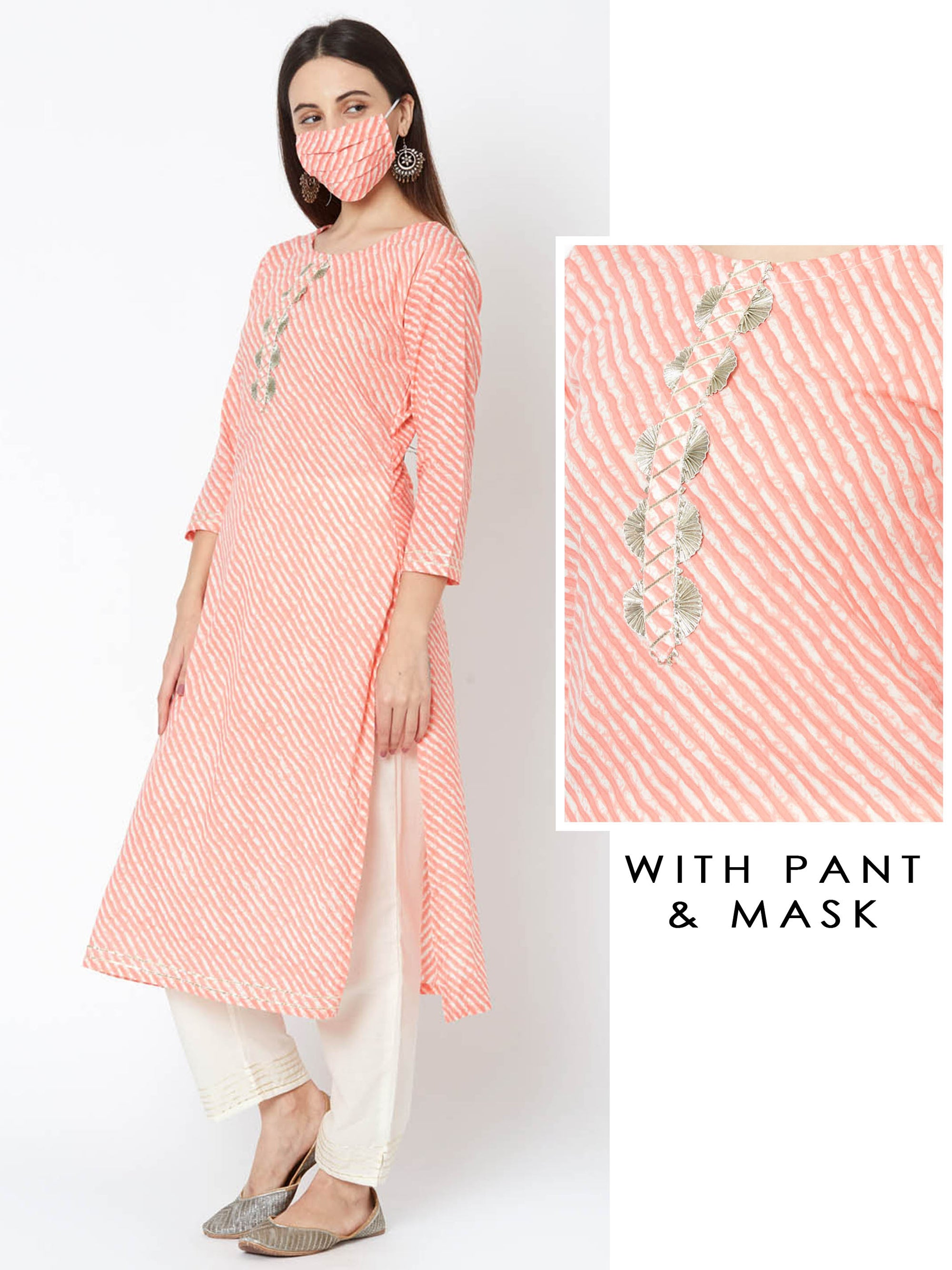 Lehariya Printed Gota Embellished Kurta & Pant with Mask – Peach
