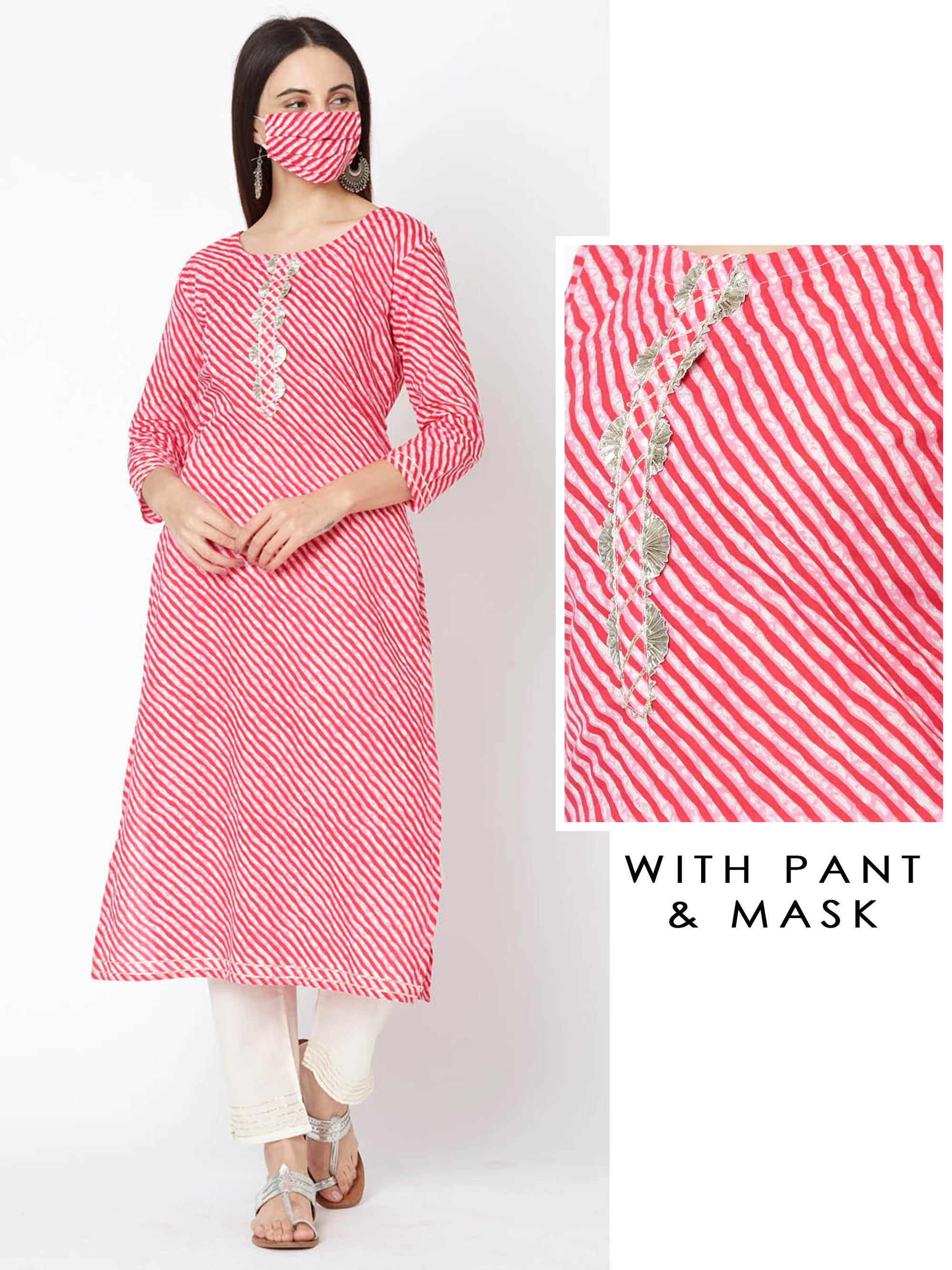 Lehariya Printed Gota Embellished Kurta & Pant with Mask – Pink