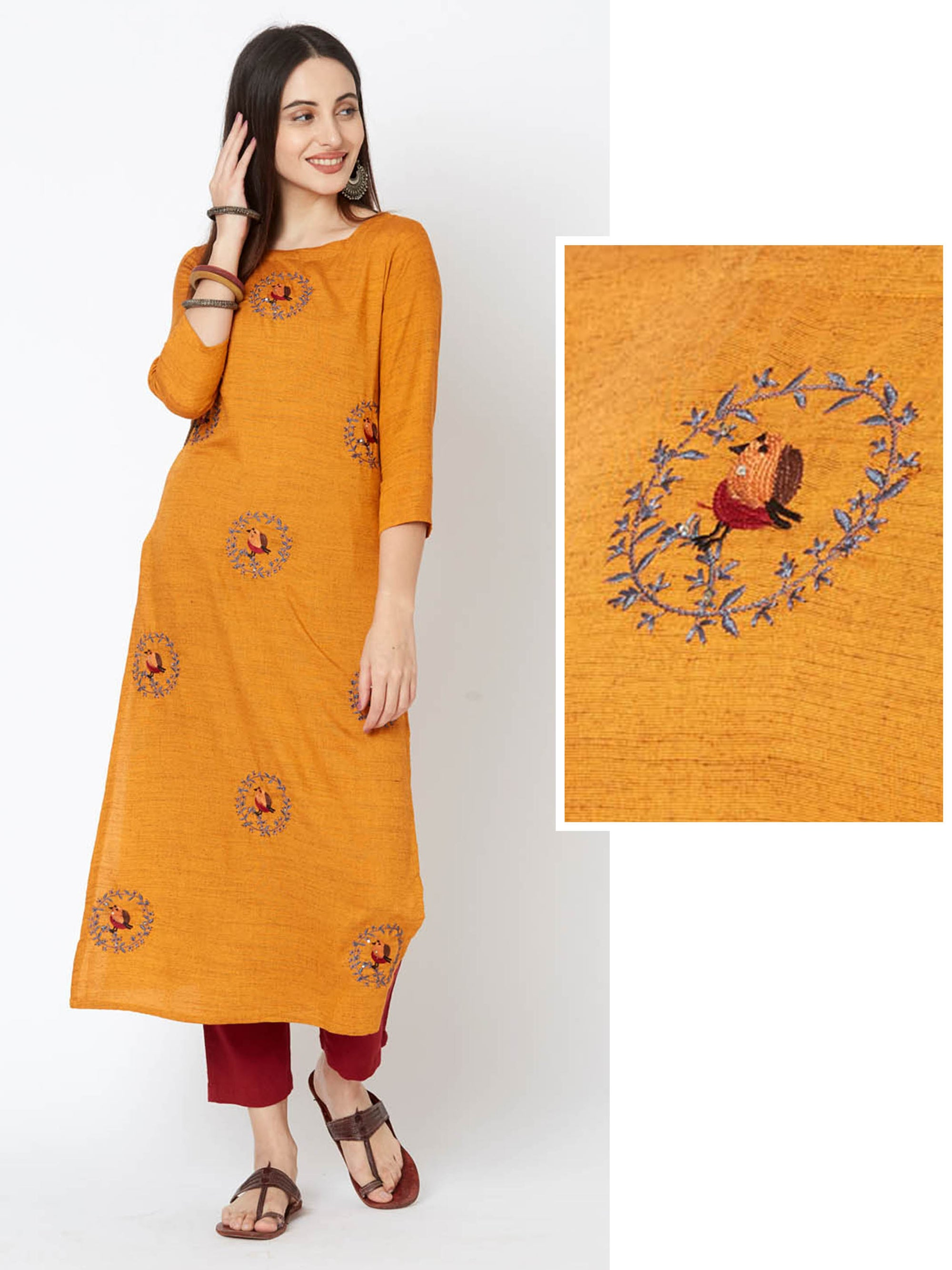 Bird & Wreath Embroidered Cotton Kurta – Orange