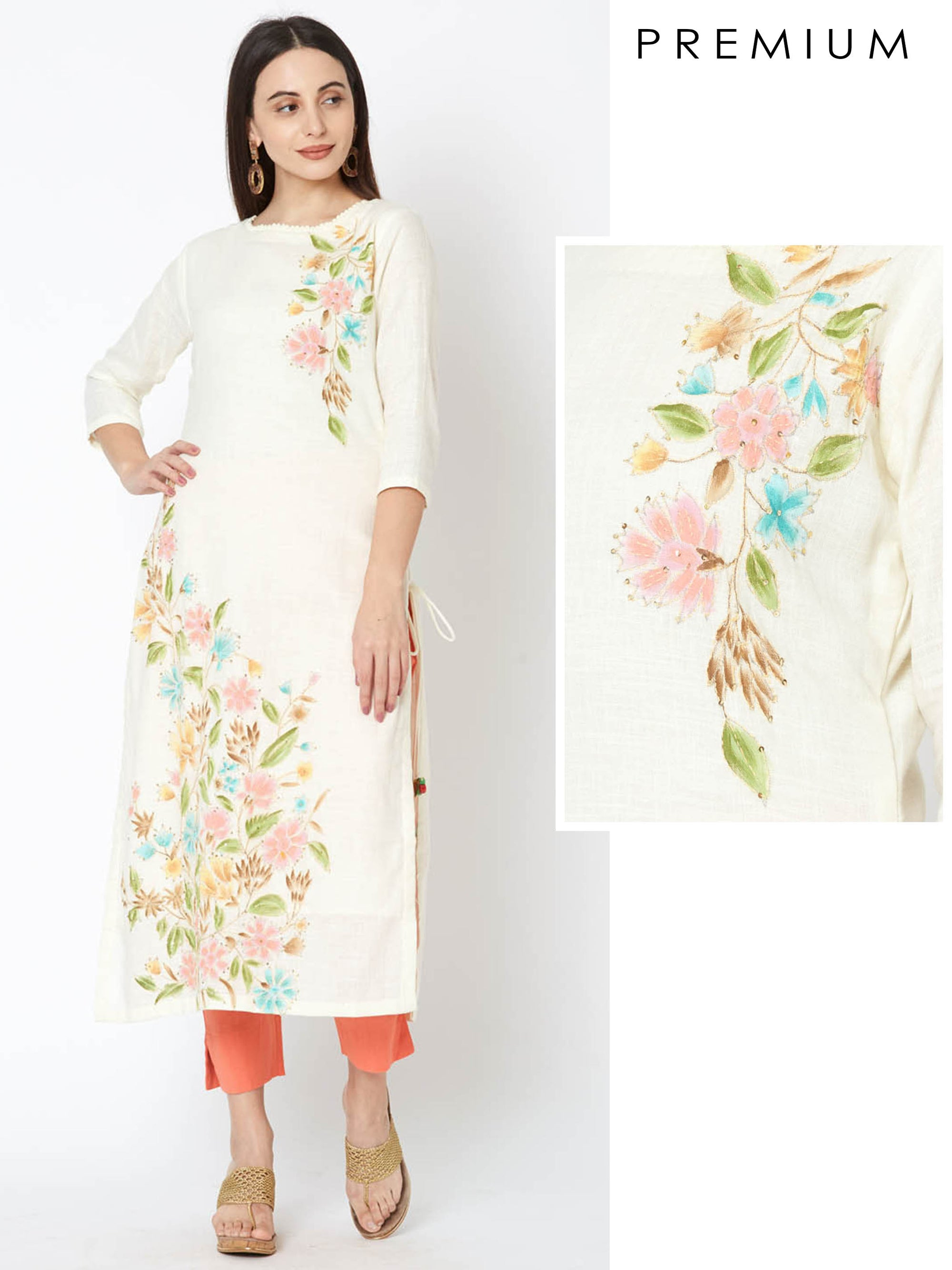 Sequins Embroidered Mandarin Print Kurta – Cream