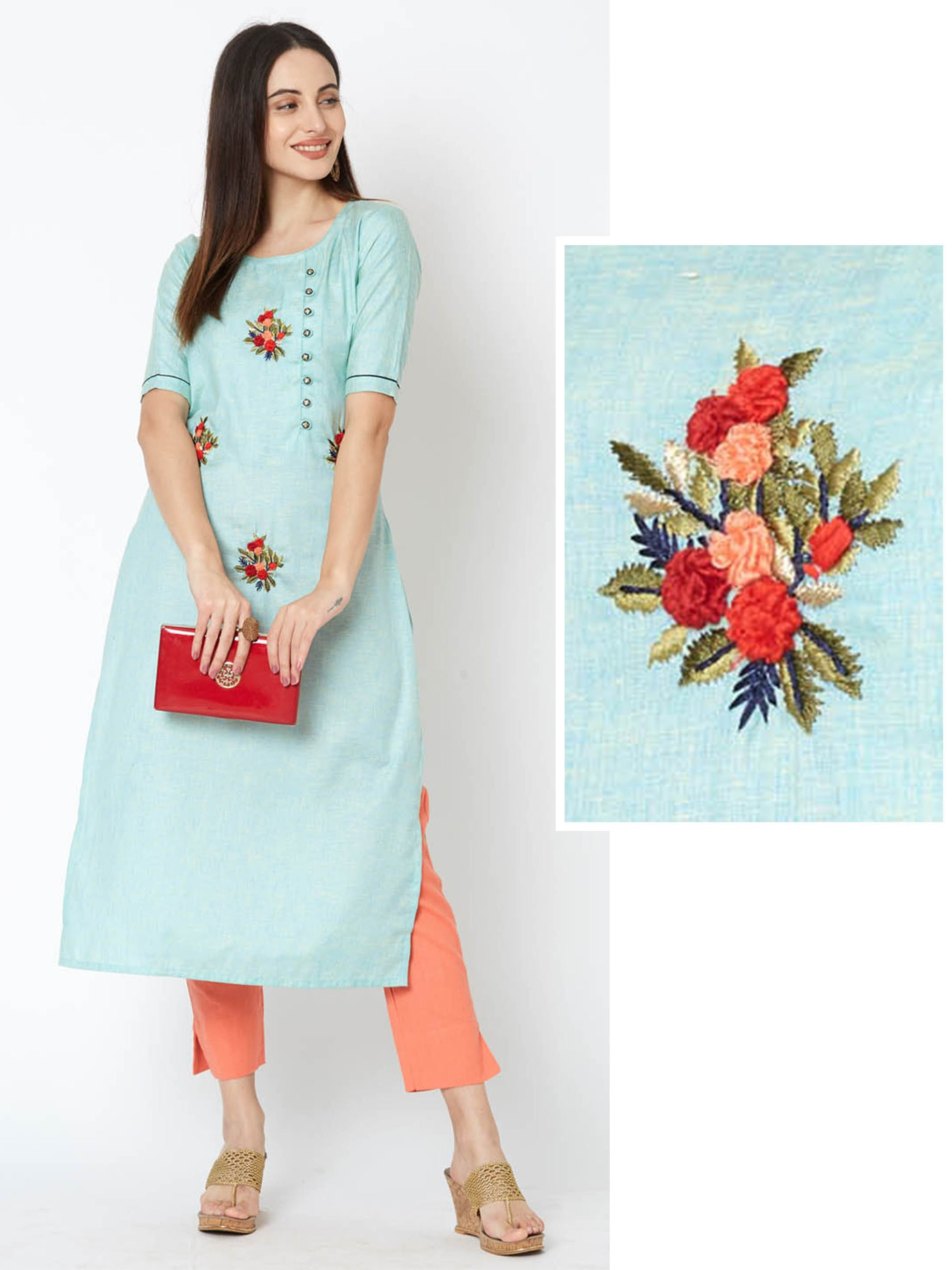 Bullion Knot Floral Embroidered Kurta – Sea Green