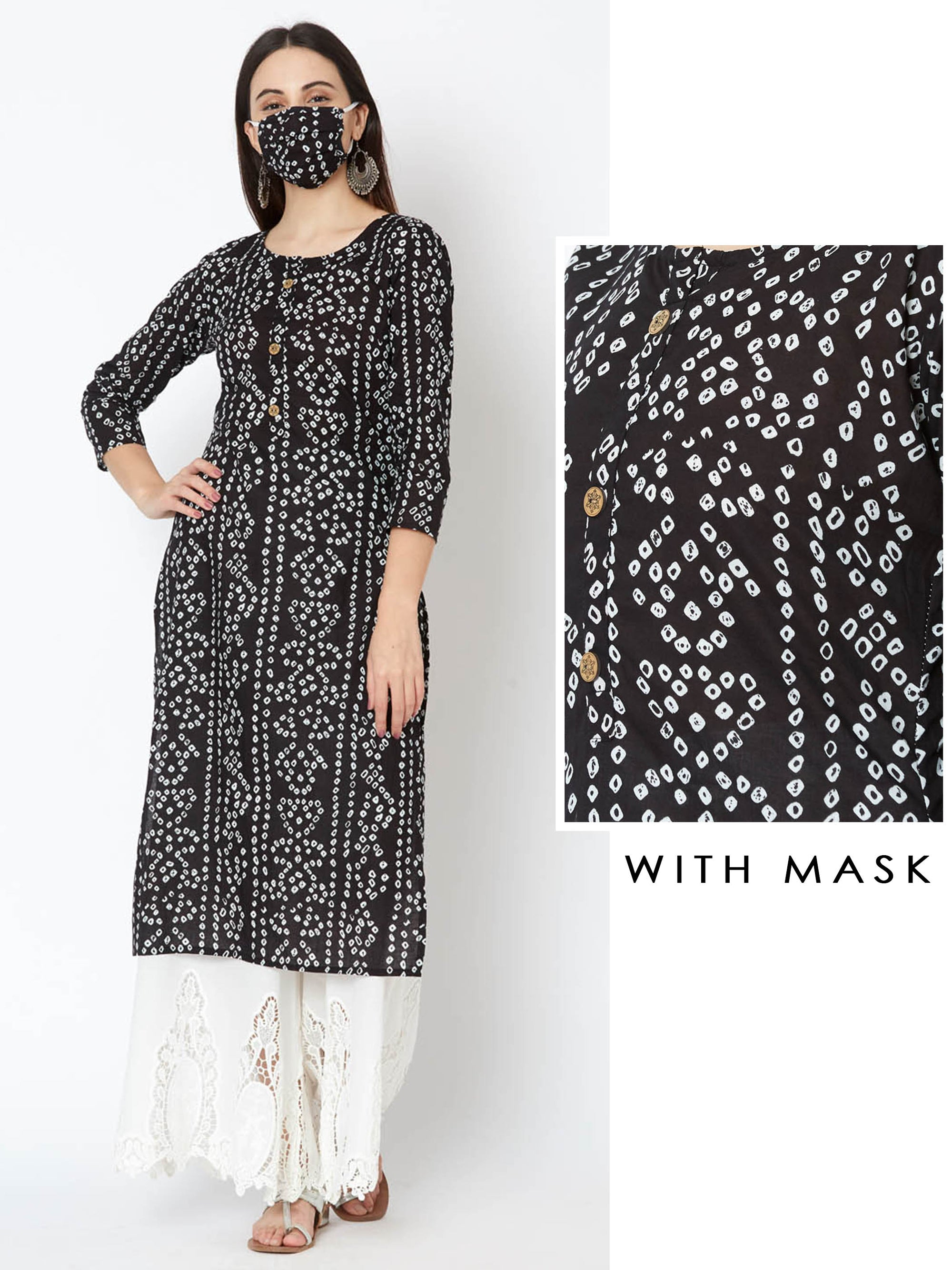 Floral Wooden Buttoned Bandhani Kurta with Mask – Black