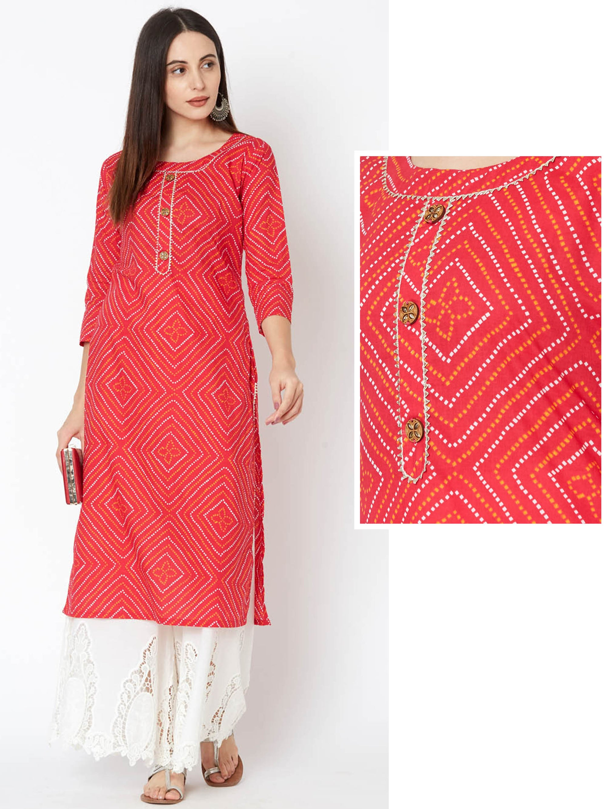 Diamond Bandhani Printed & Temple Gota Kurta – Red