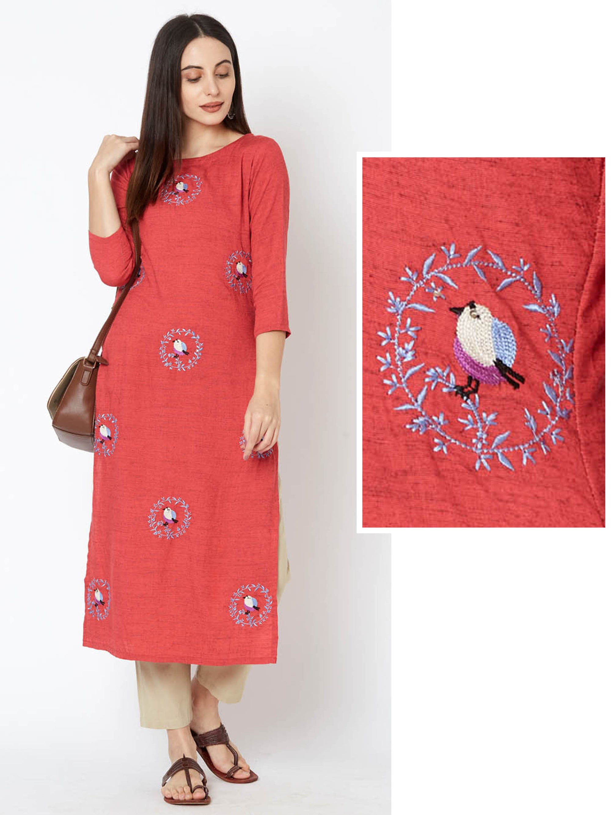 Bird & Wreath Embroidered Cotton Kurta – Candy Pink