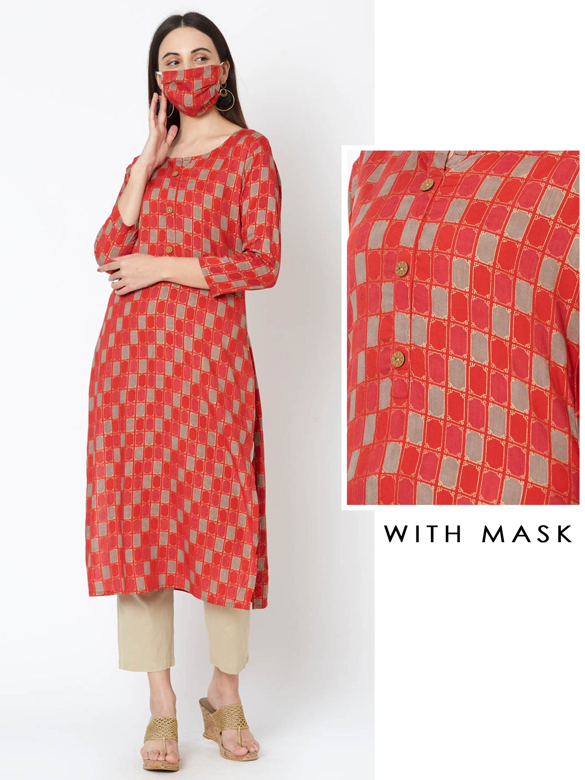 Abstract Checkered Print Kurta with Mask – Red