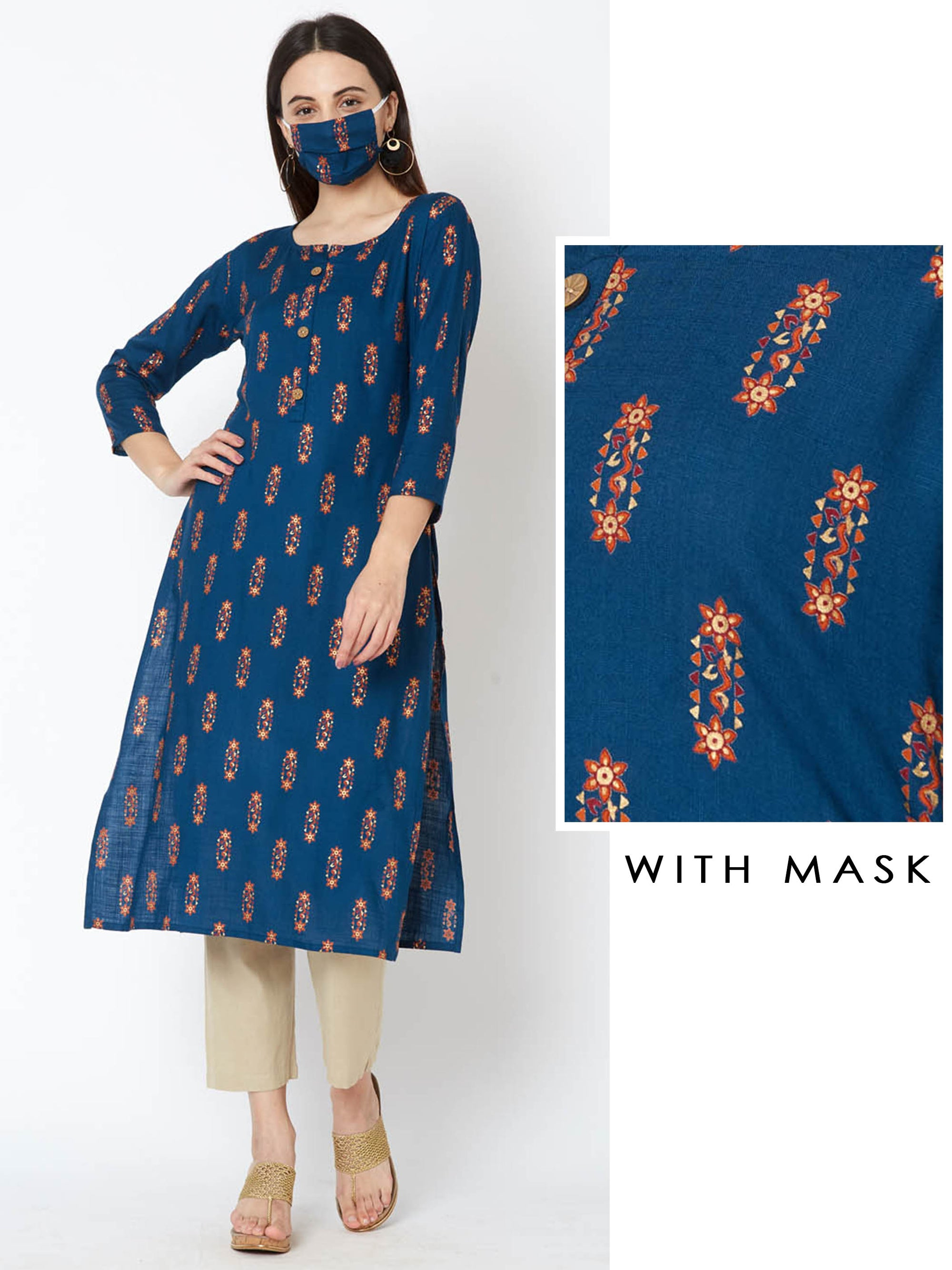 Abstract Floral Printed Kurta – Ocean Blue