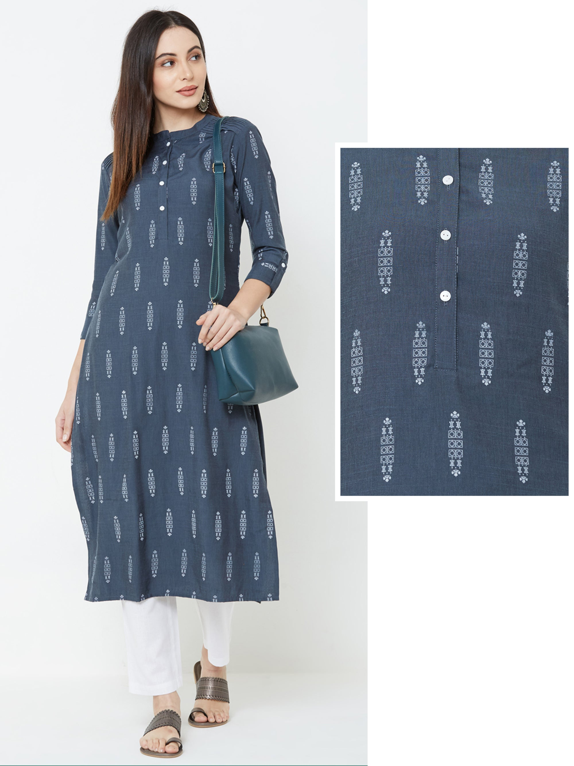 Minimal Abstract Printed Pin Tuck Kurta – Grey