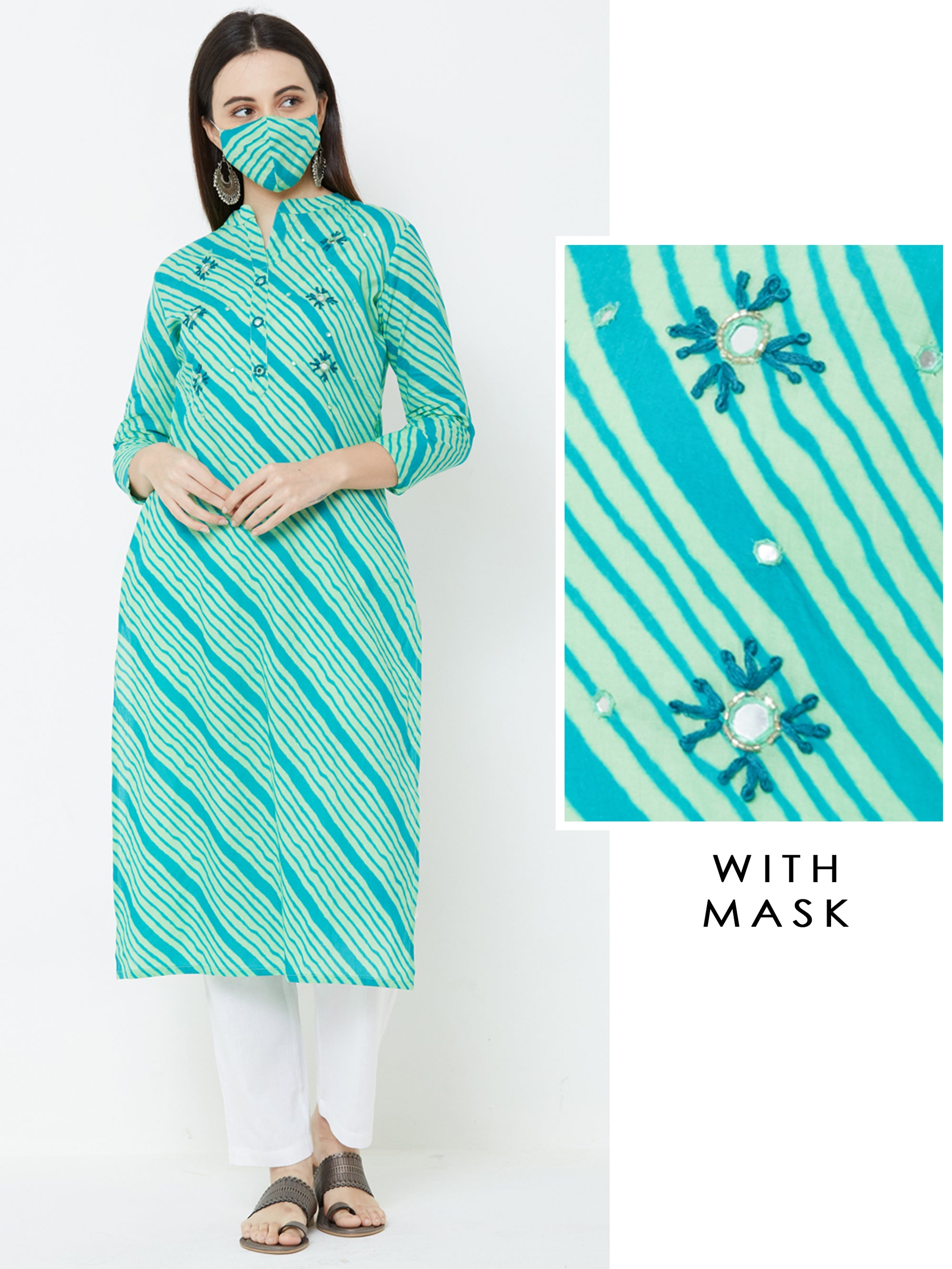 Floral Embroidered, Mirror worked & Lehariya Printed Kurta with Matching Mask – Green