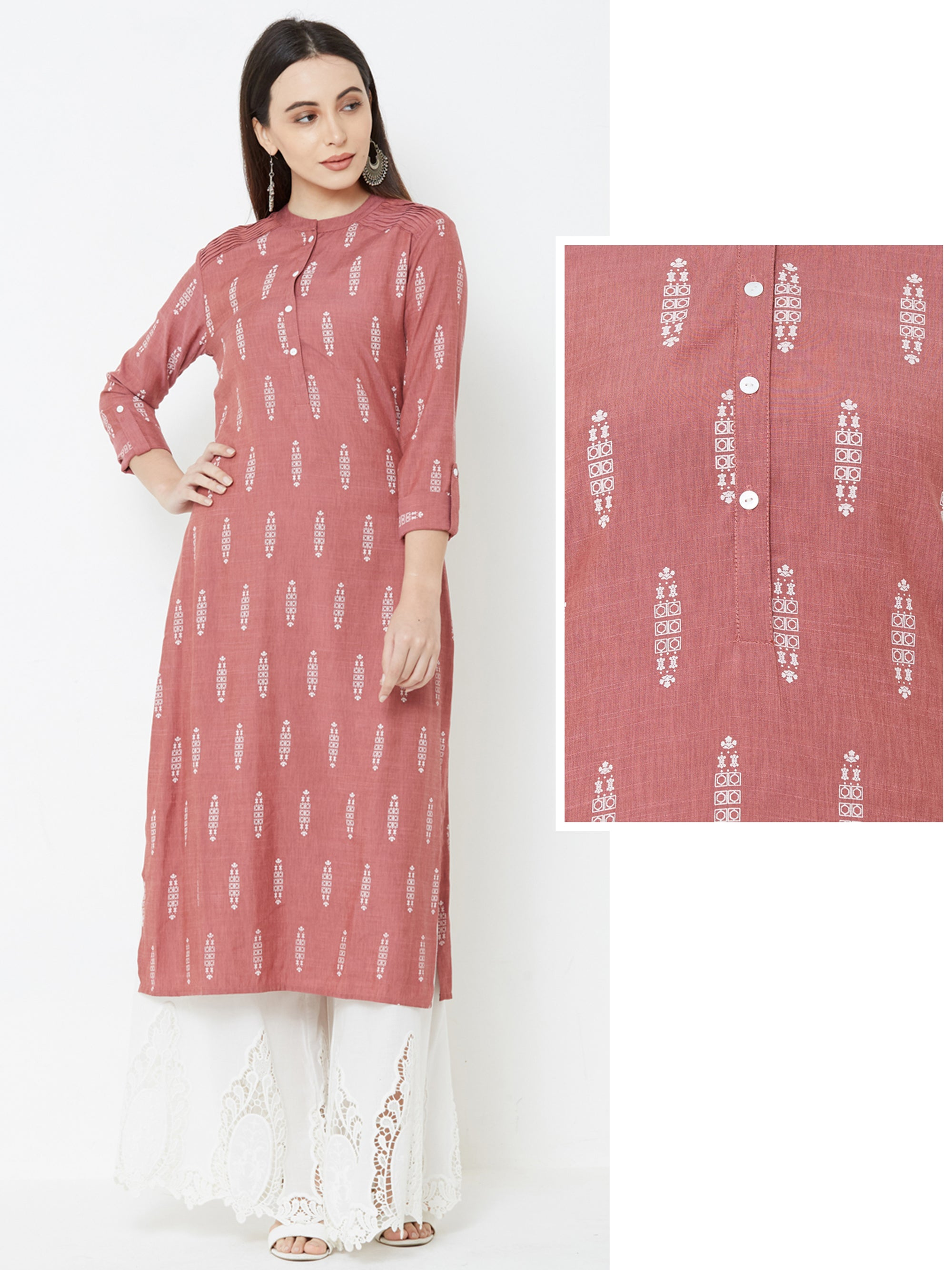 Minimal Abstract Printed Pin Tuck Kurta – Brown