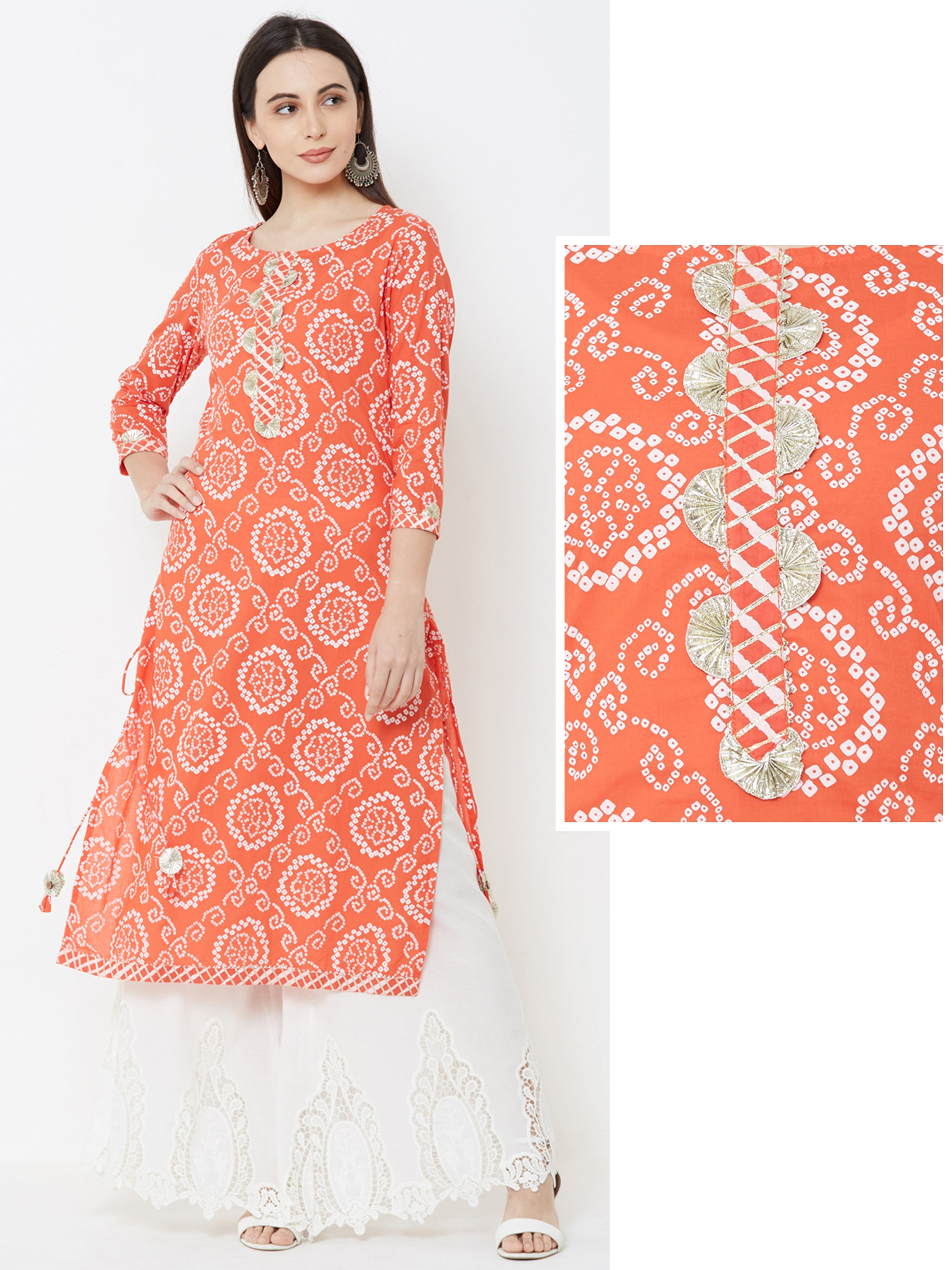 Bandhani Floral Printed Gota Embellished Kurta – Orange