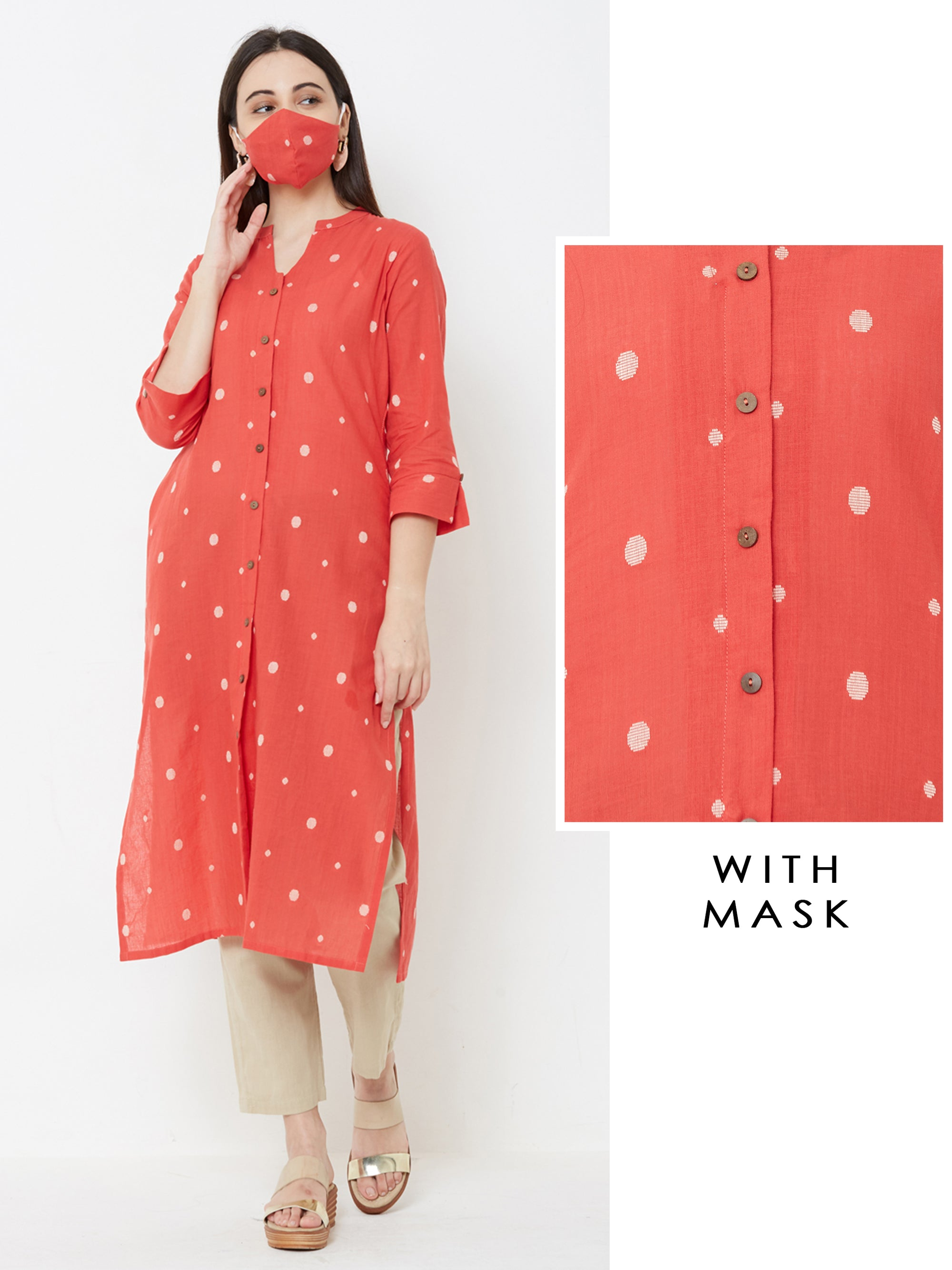 Contrast Buta Printed kurta with Matching Mask – Red