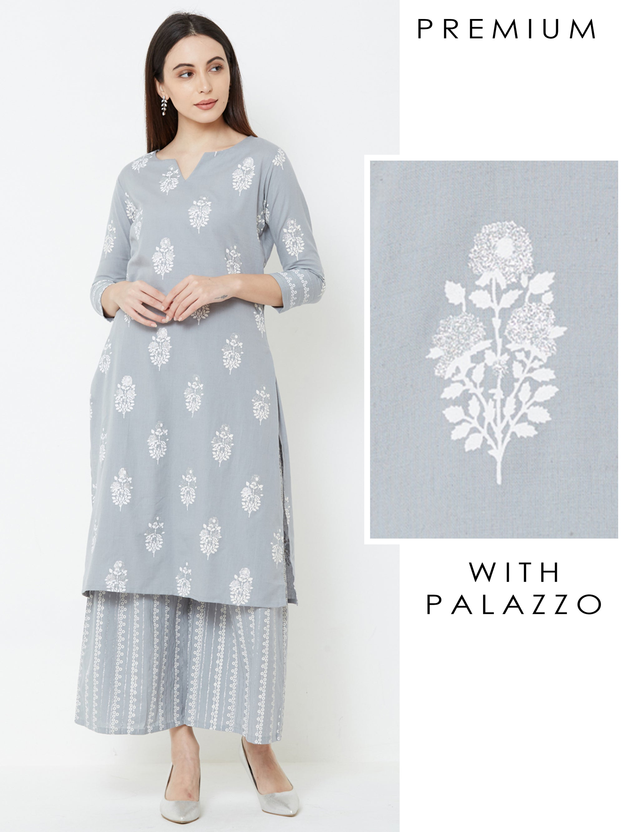 Khari & Floral Block Printed Kurta & Striped Palazzo – Grey