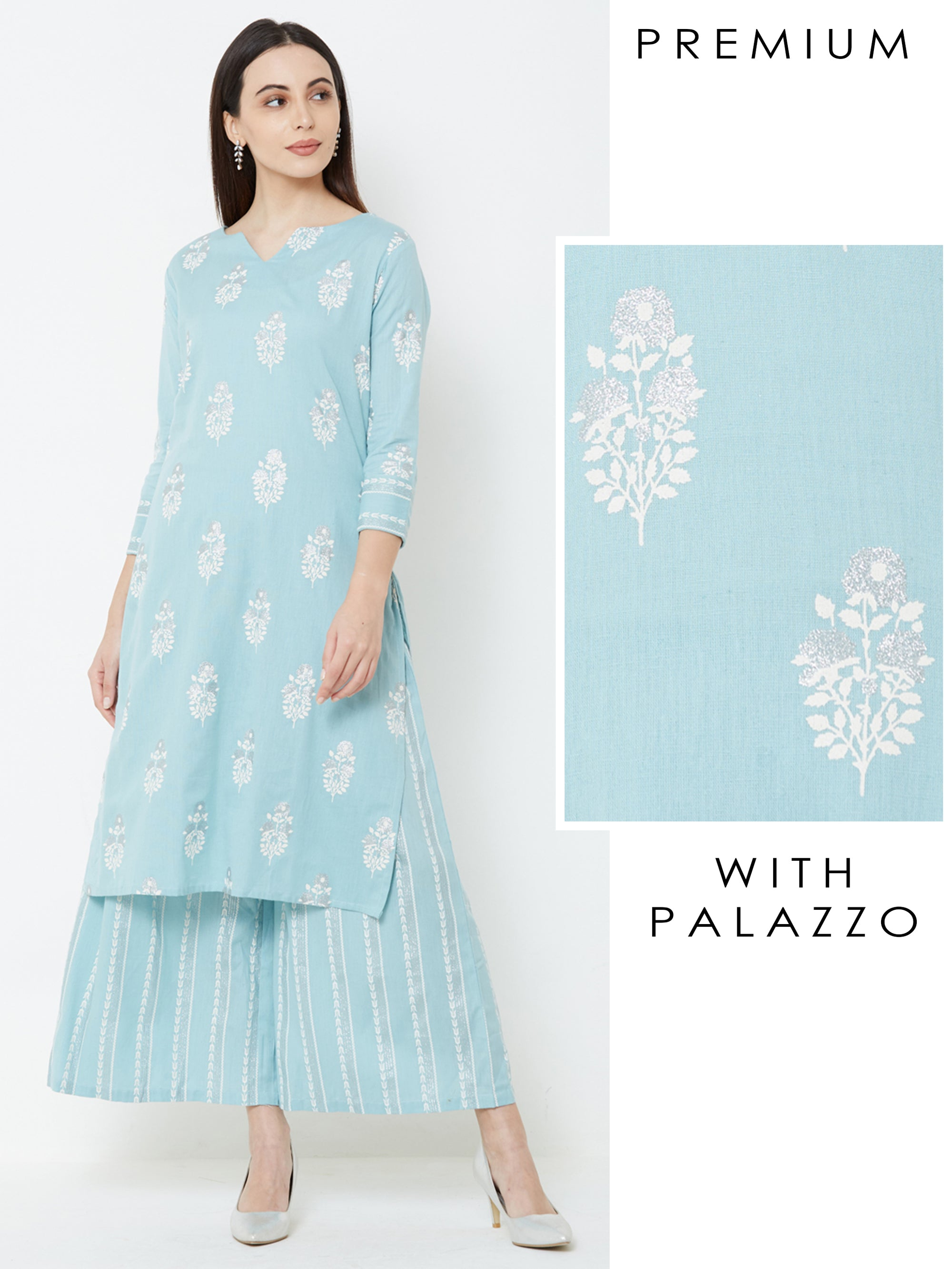 Khari & Floral Block Printed Kurta & Striped Palazzo – Blue