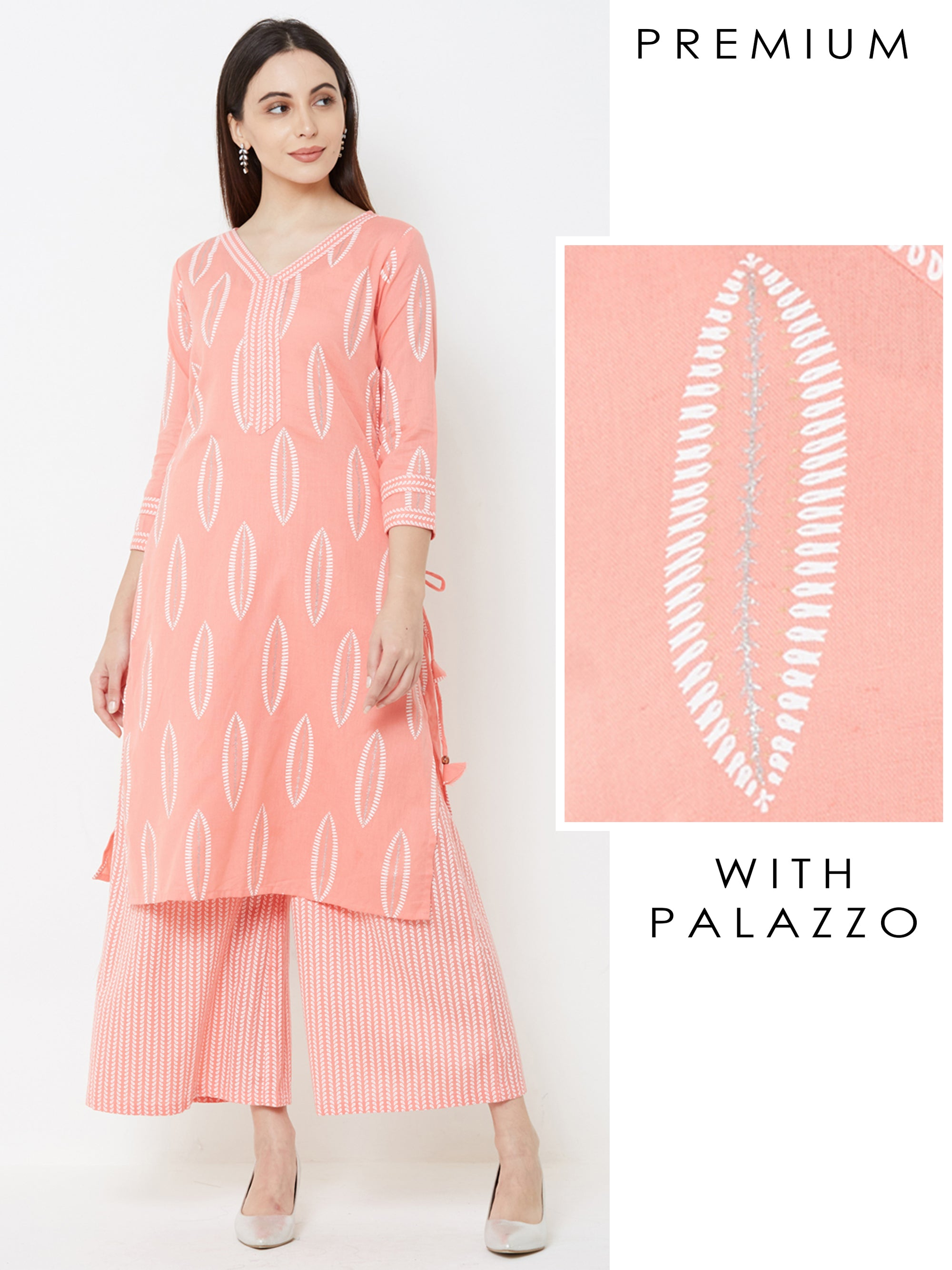 Khari & Pinnate Leaf Printed Kurta & Striped Palazzo – Peach