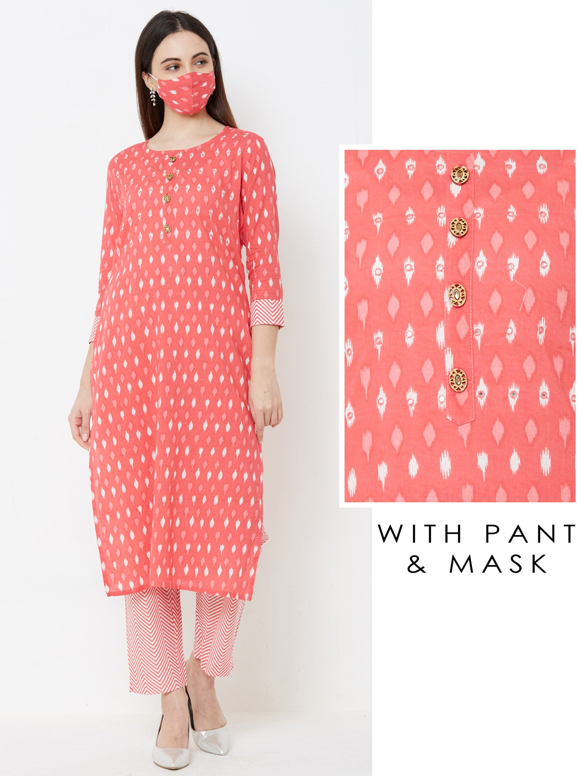 Foil Mirror worked & Ikkat Printed Kurta with Chevron Pant – Pink
