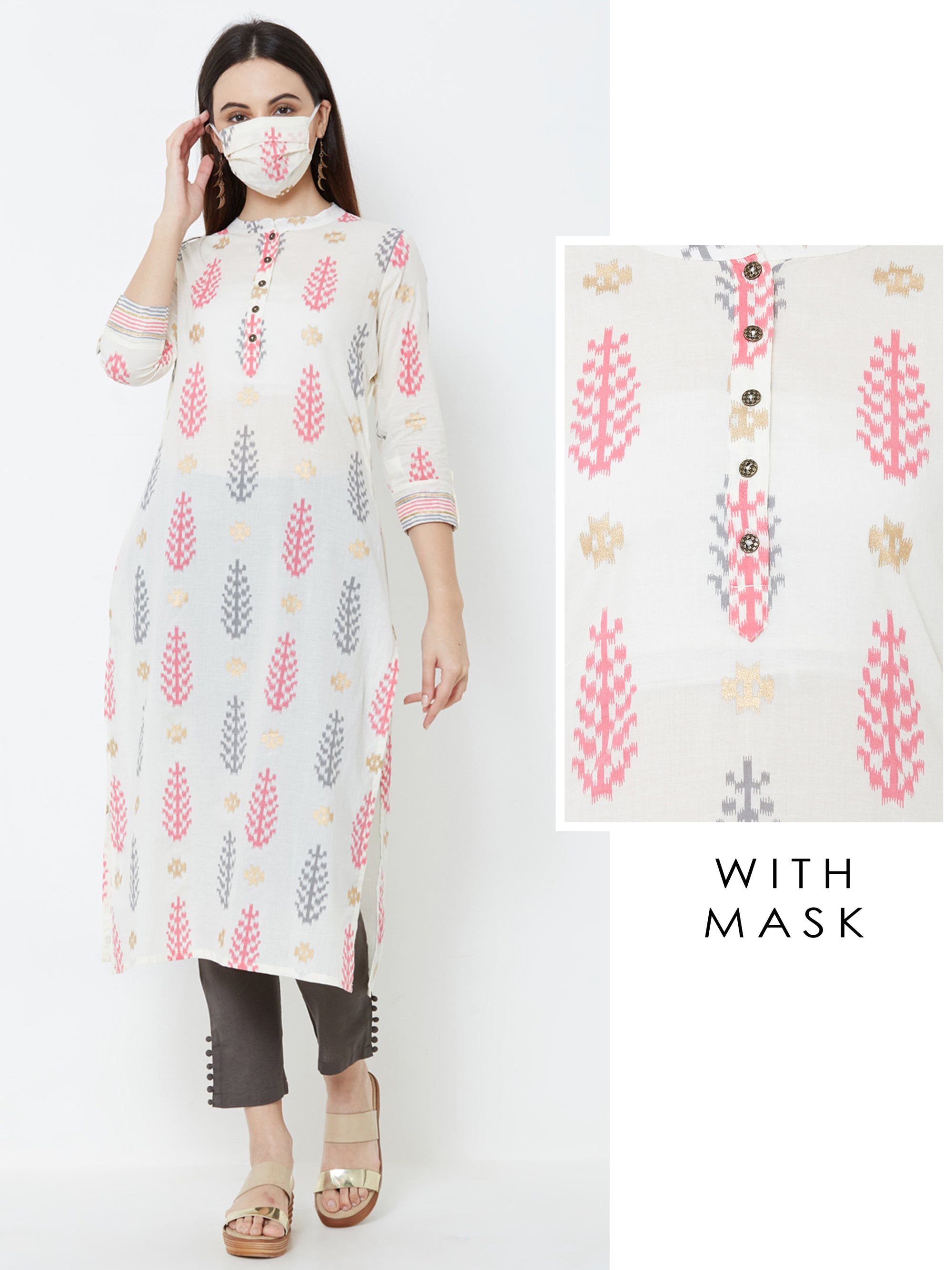 Abstract Leaf Printed Kurta with Matching Mask – Off-White