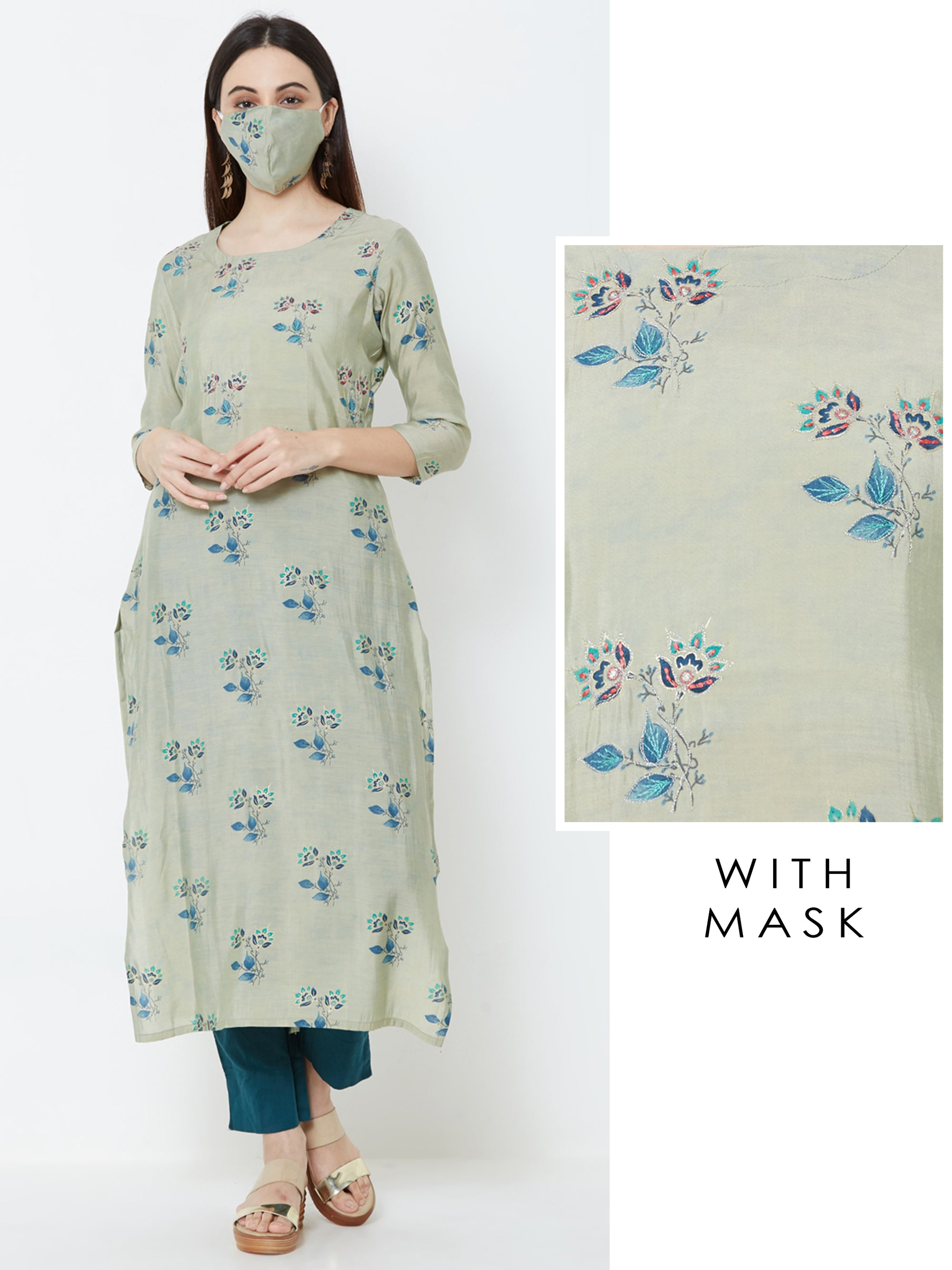 Elegant Floral Printed Kurta with Matching Mask – Green