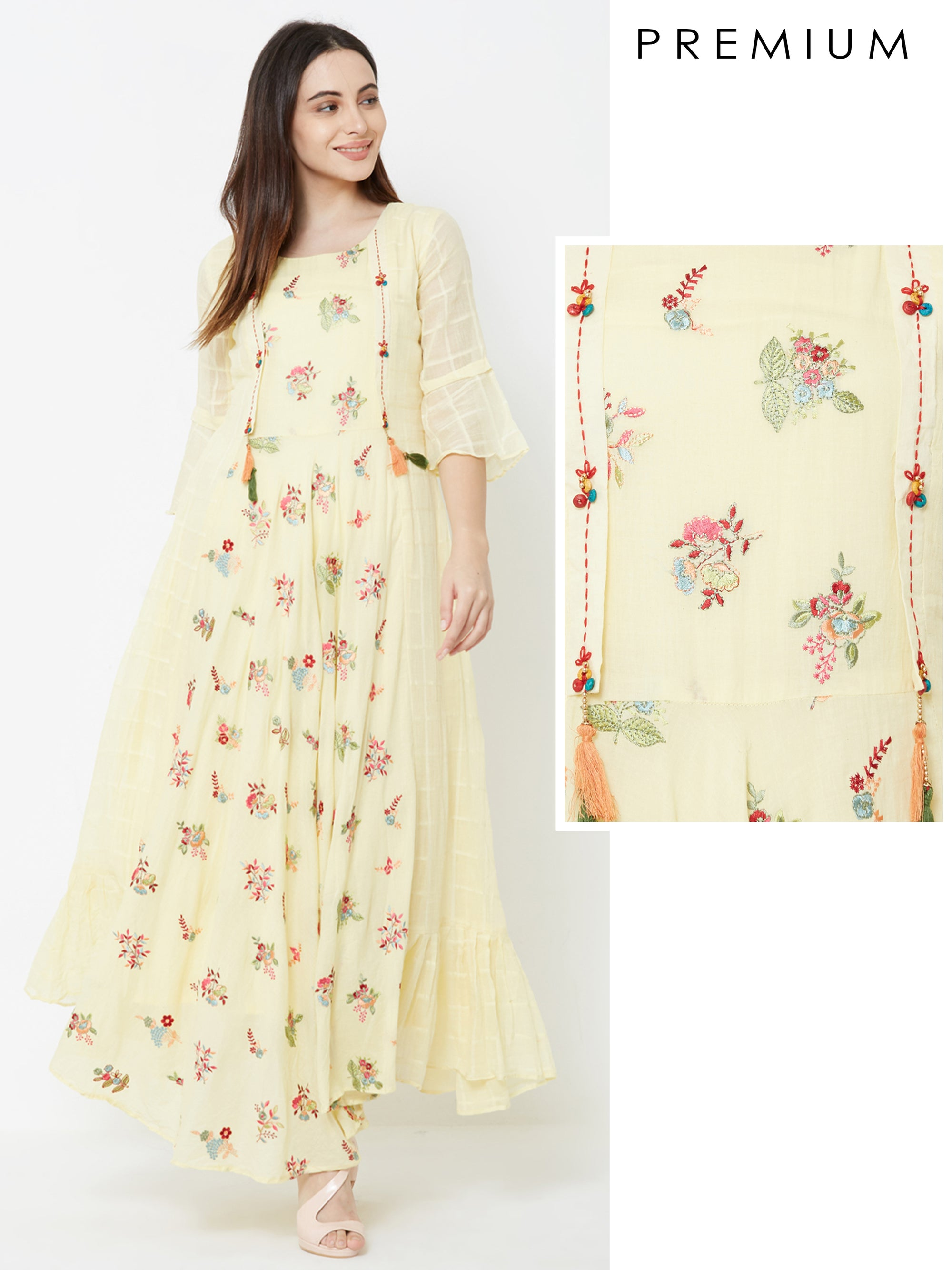 Floral printed and Tassel Embroidered A-line Maxi – Lemon Yellow