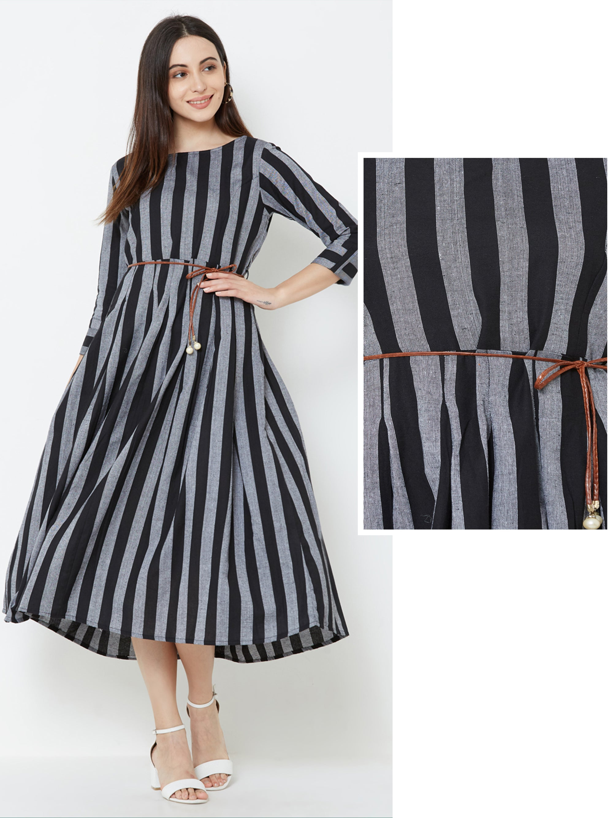 Cabana Striped & Box Pleated Cotton Maxi with Dori Belt