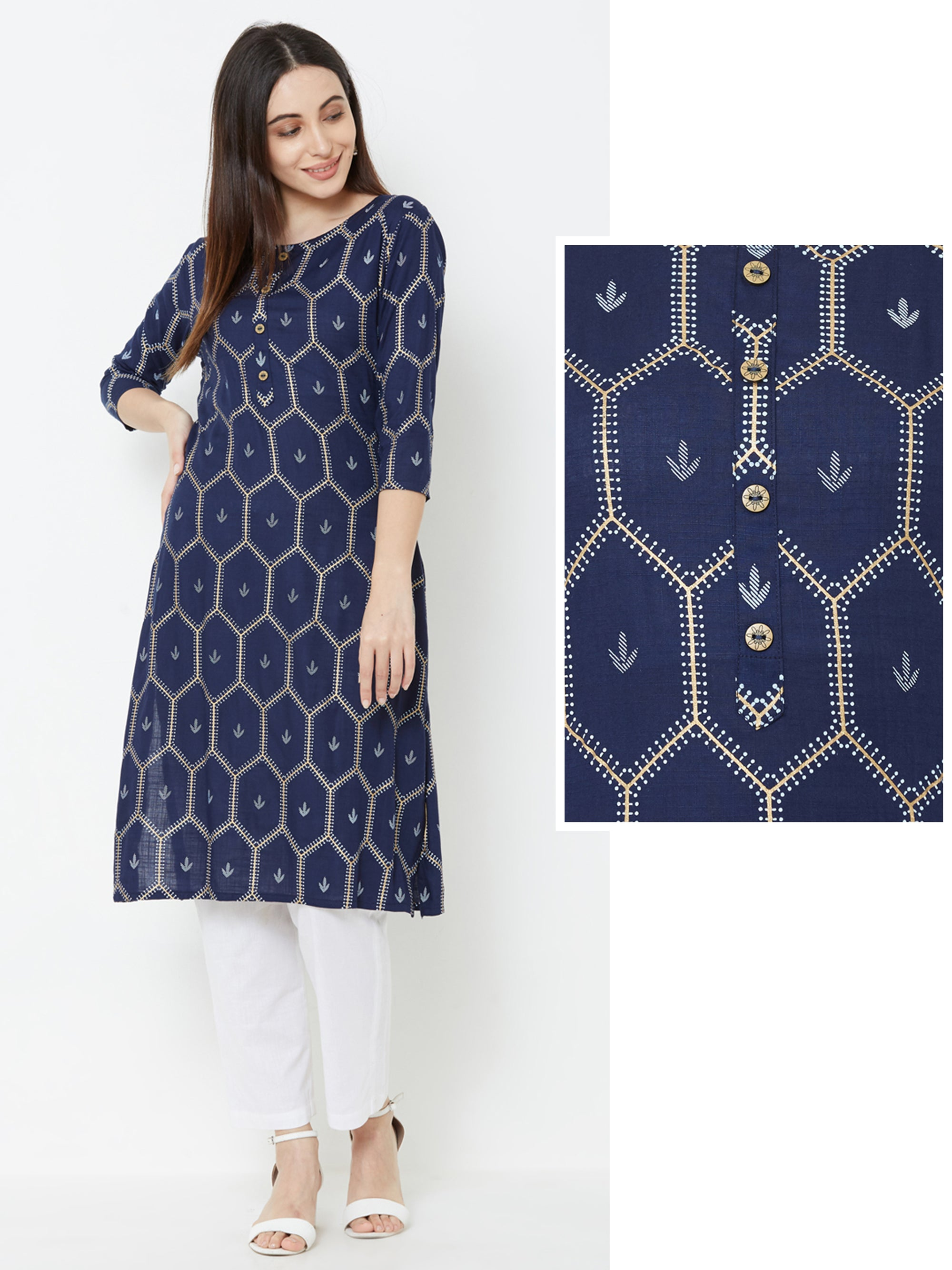 Hexagon & Minimal Floral Printed Kurta – Navy Blue