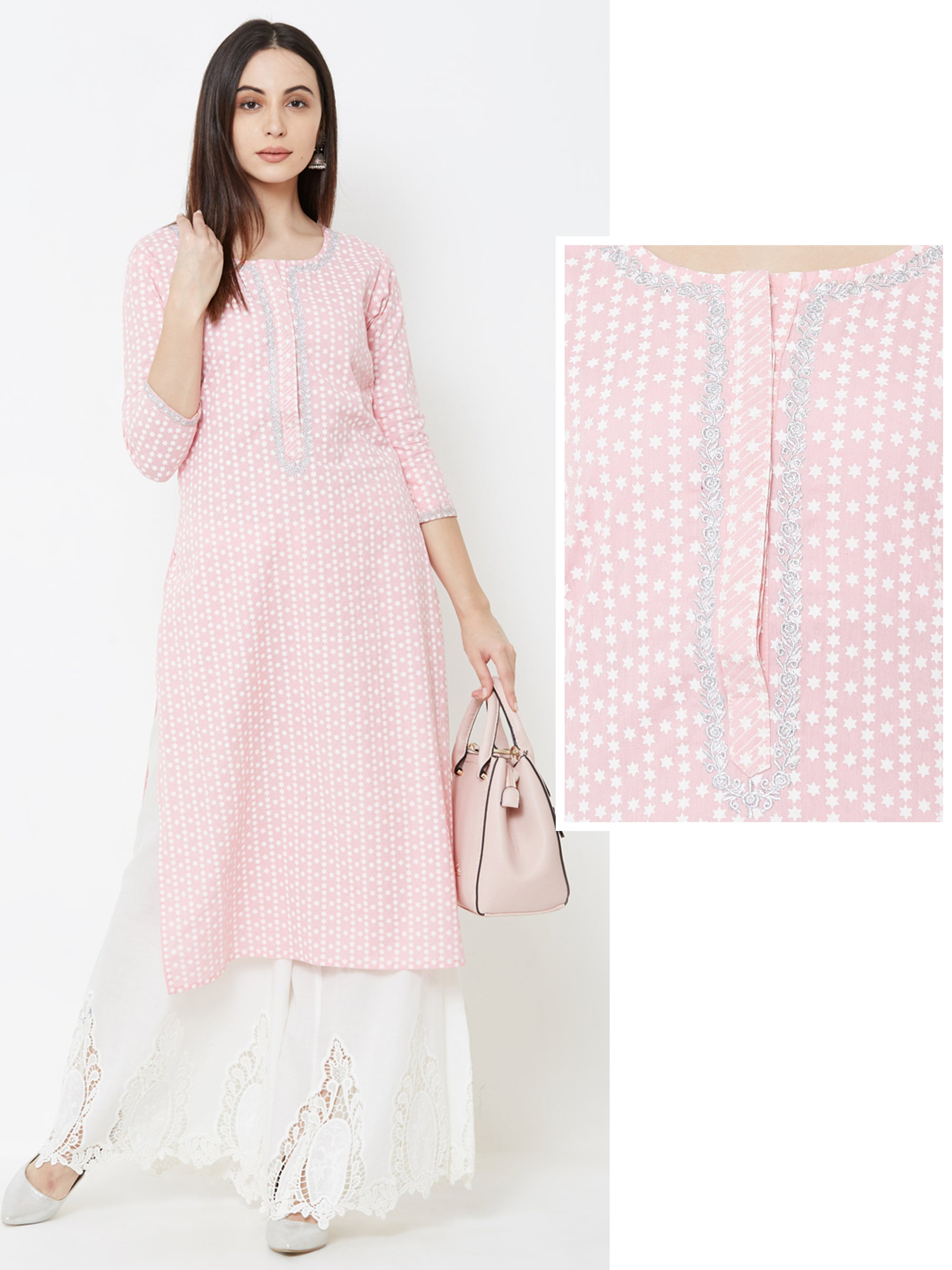 Star Printed & Silver Embroidered Kurta – Pink