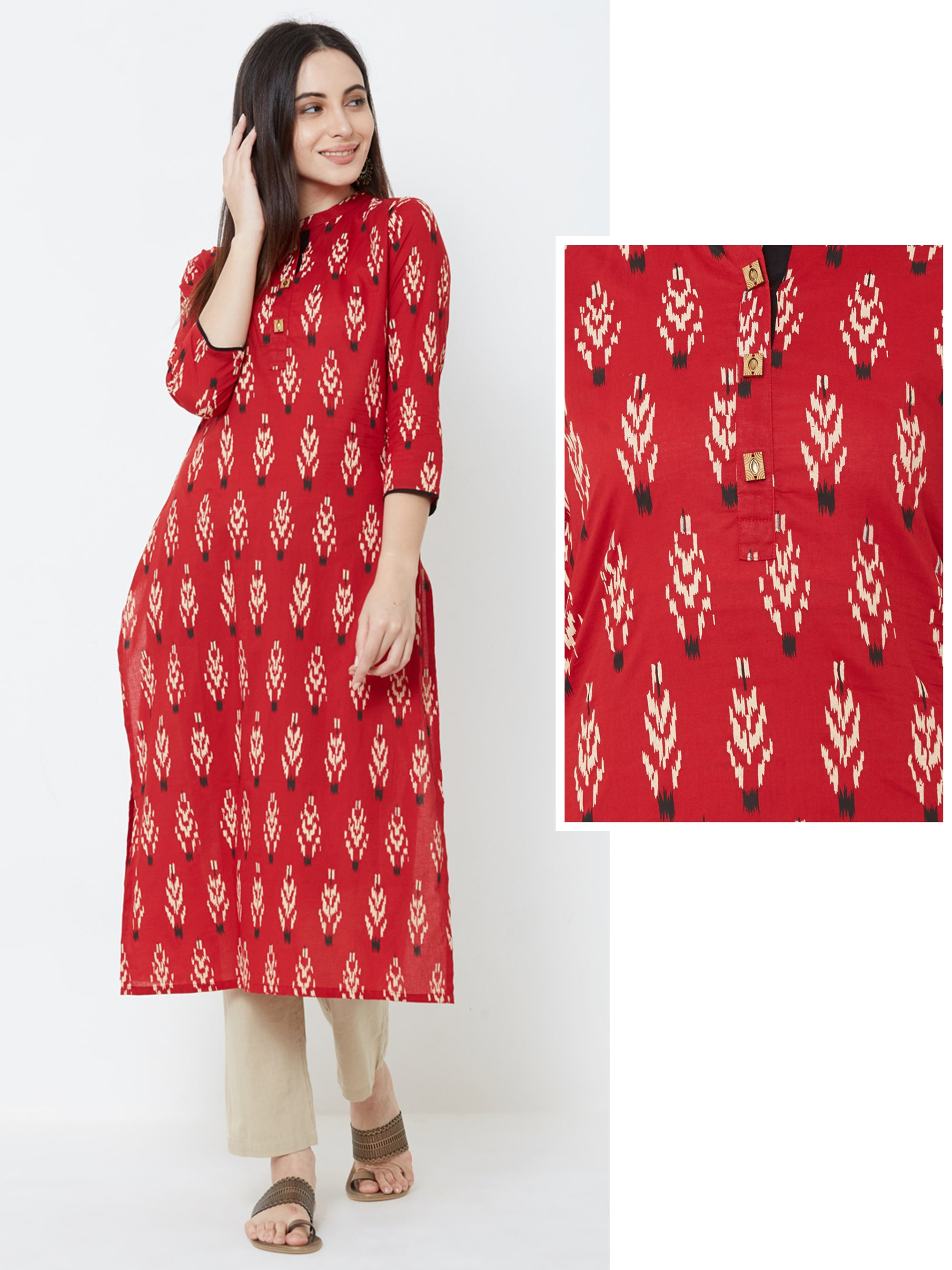 Abstract Ikkat Printed Cotton Kurta – Maroon