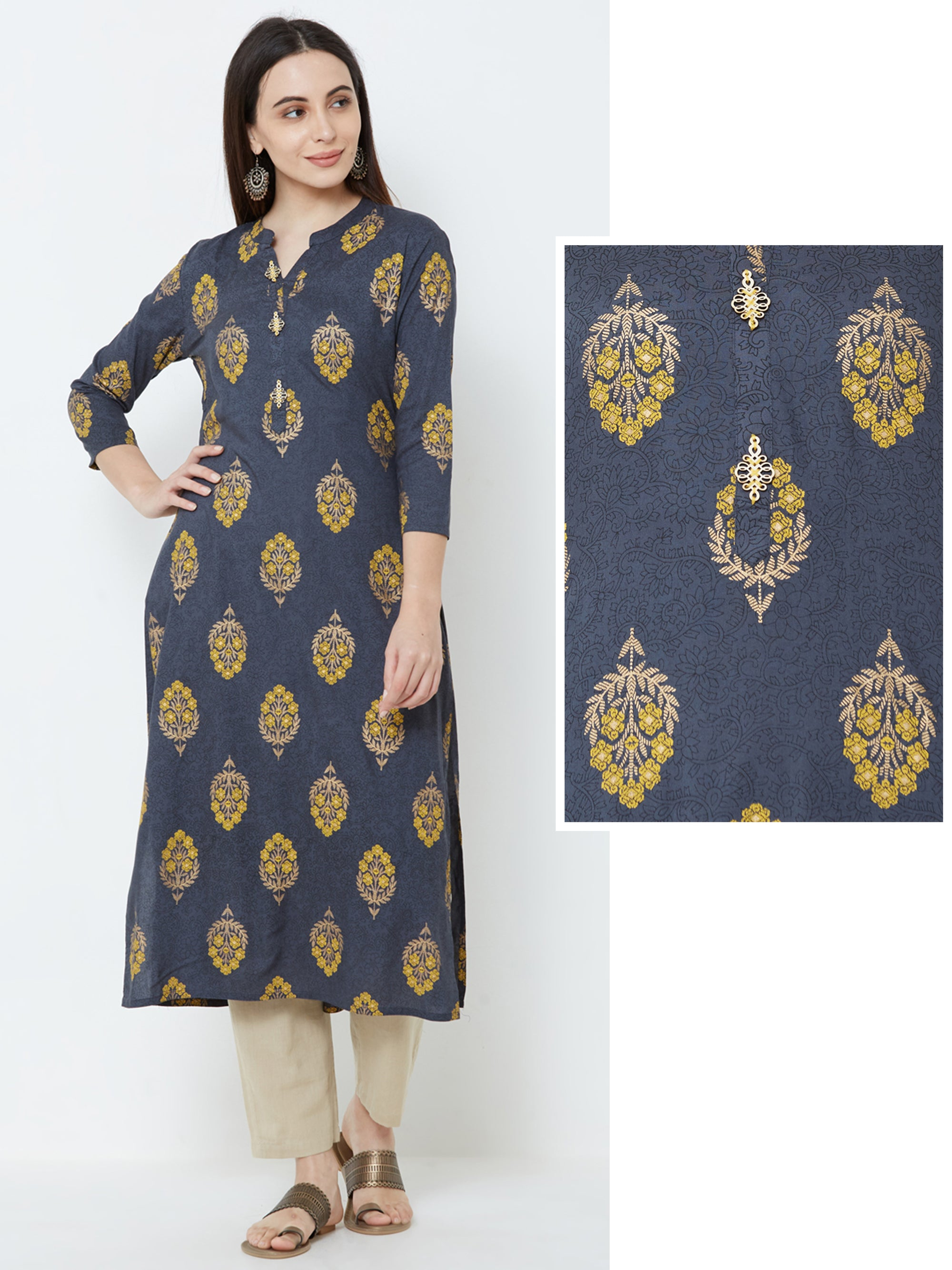 Floral printed & Self Designed Kurta – Grey