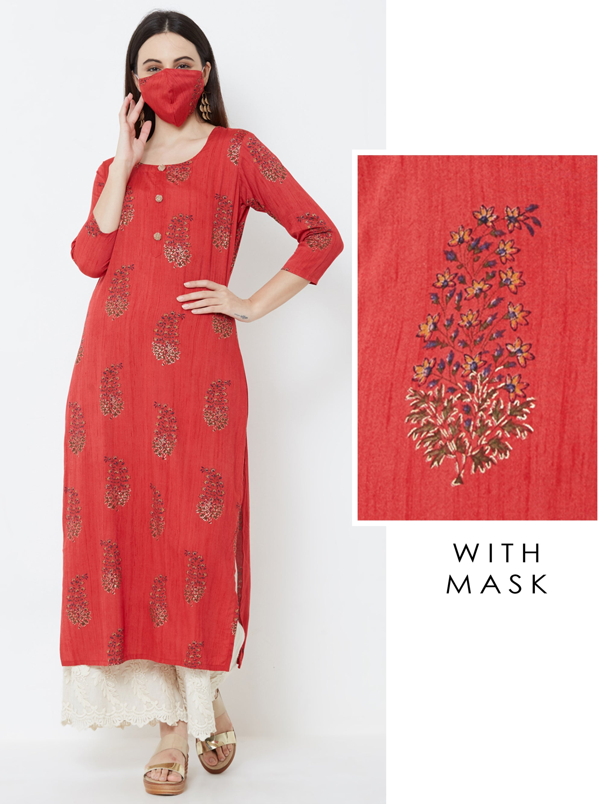 Floral Printed Kurta with Matching Mask – Maroon